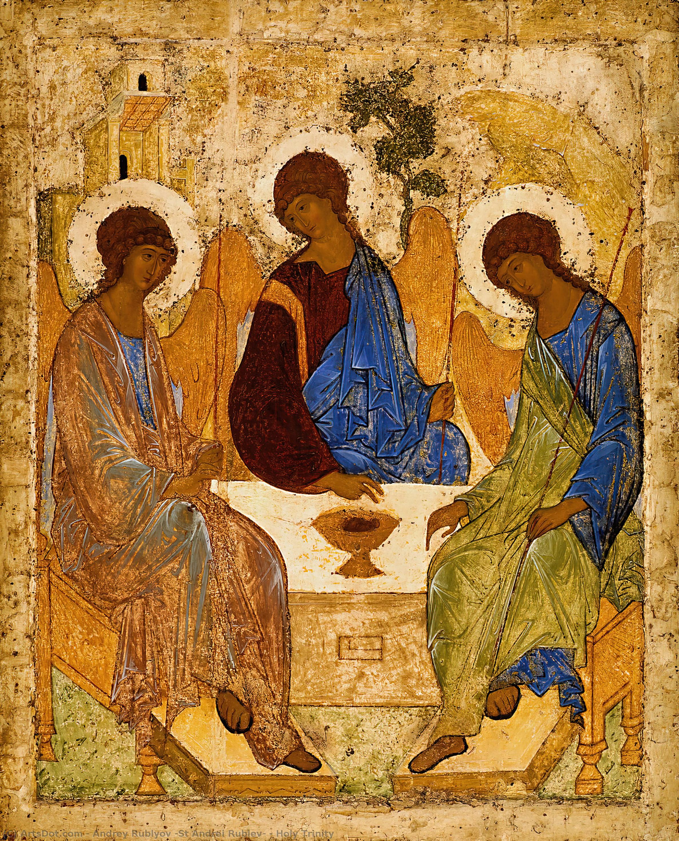 Wikioo.org - The Encyclopedia of Fine Arts - Painting, Artwork by Andrey Rublyov (St Andrei Rublev) - Holy Trinity