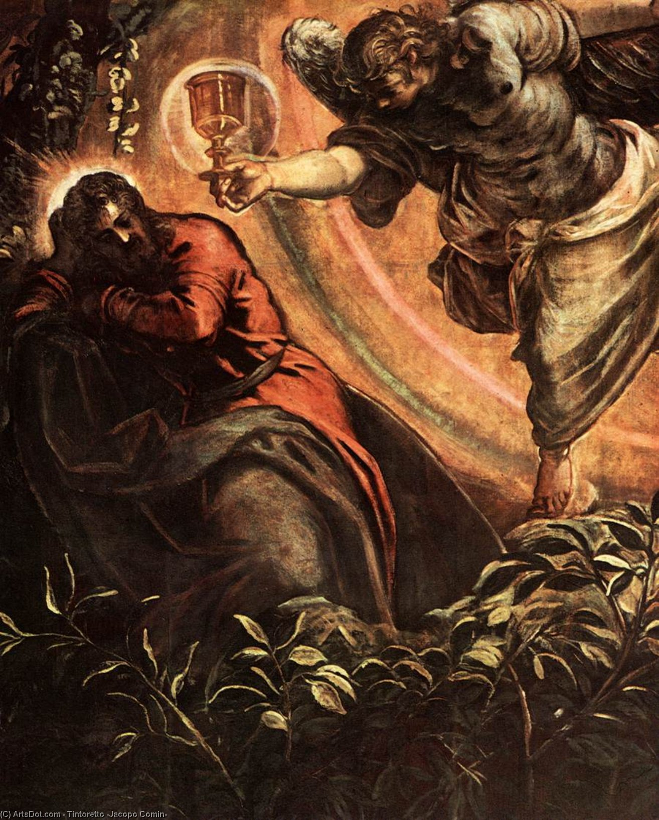 Wikioo.org - The Encyclopedia of Fine Arts - Painting, Artwork by Tintoretto (Jacopo Comin) - The Prayer in the Garden (detail)