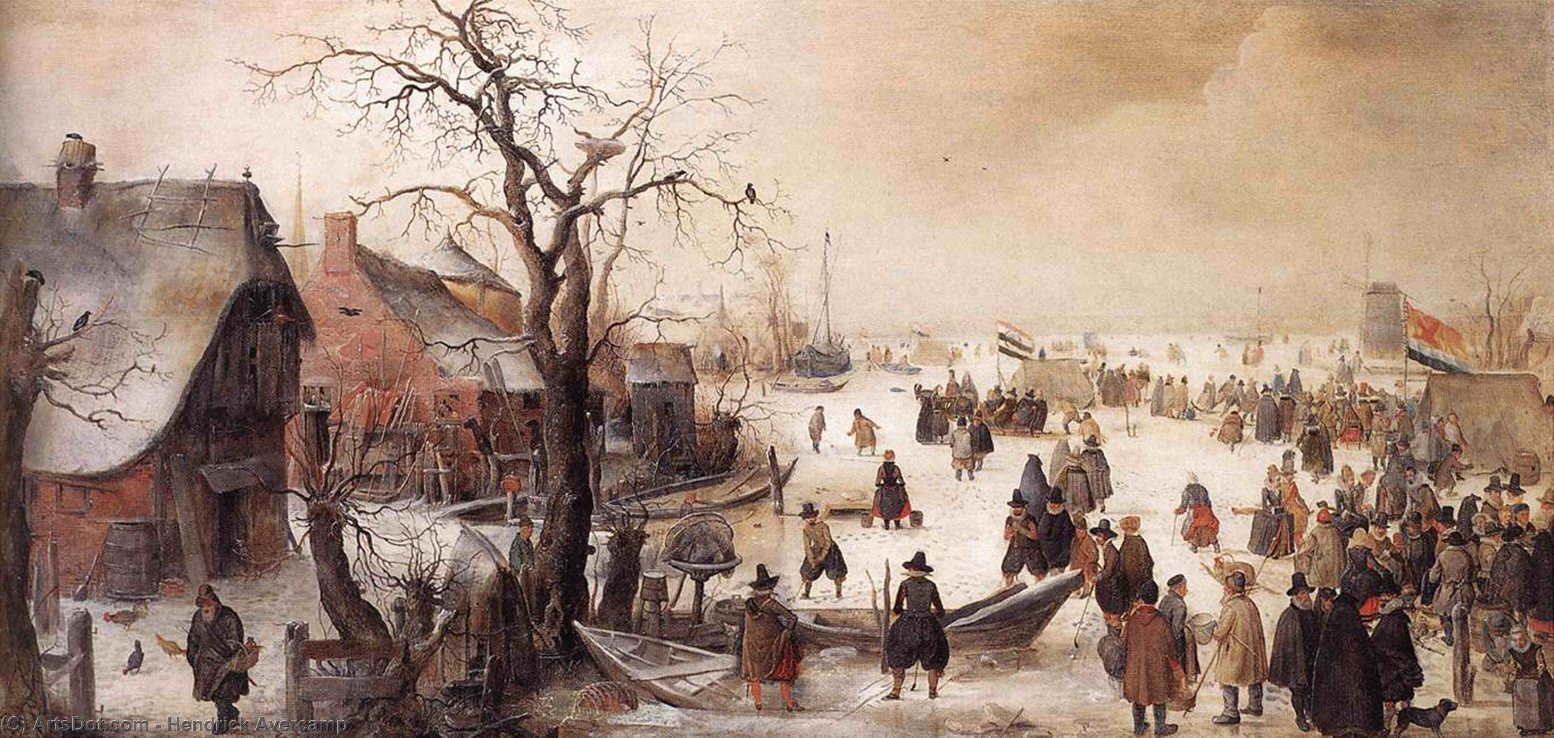 Wikioo.org - The Encyclopedia of Fine Arts - Painting, Artwork by Hendrick Avercamp - Winter Scene on a Canal