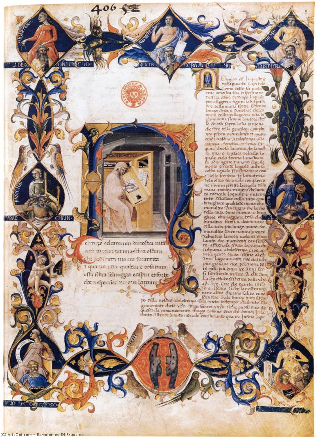 Wikioo.org - The Encyclopedia of Fine Arts - Painting, Artwork by Bartolomeo Di Fruosino - Inferno, from the Divine Comedy by Dante (Folio 3v)