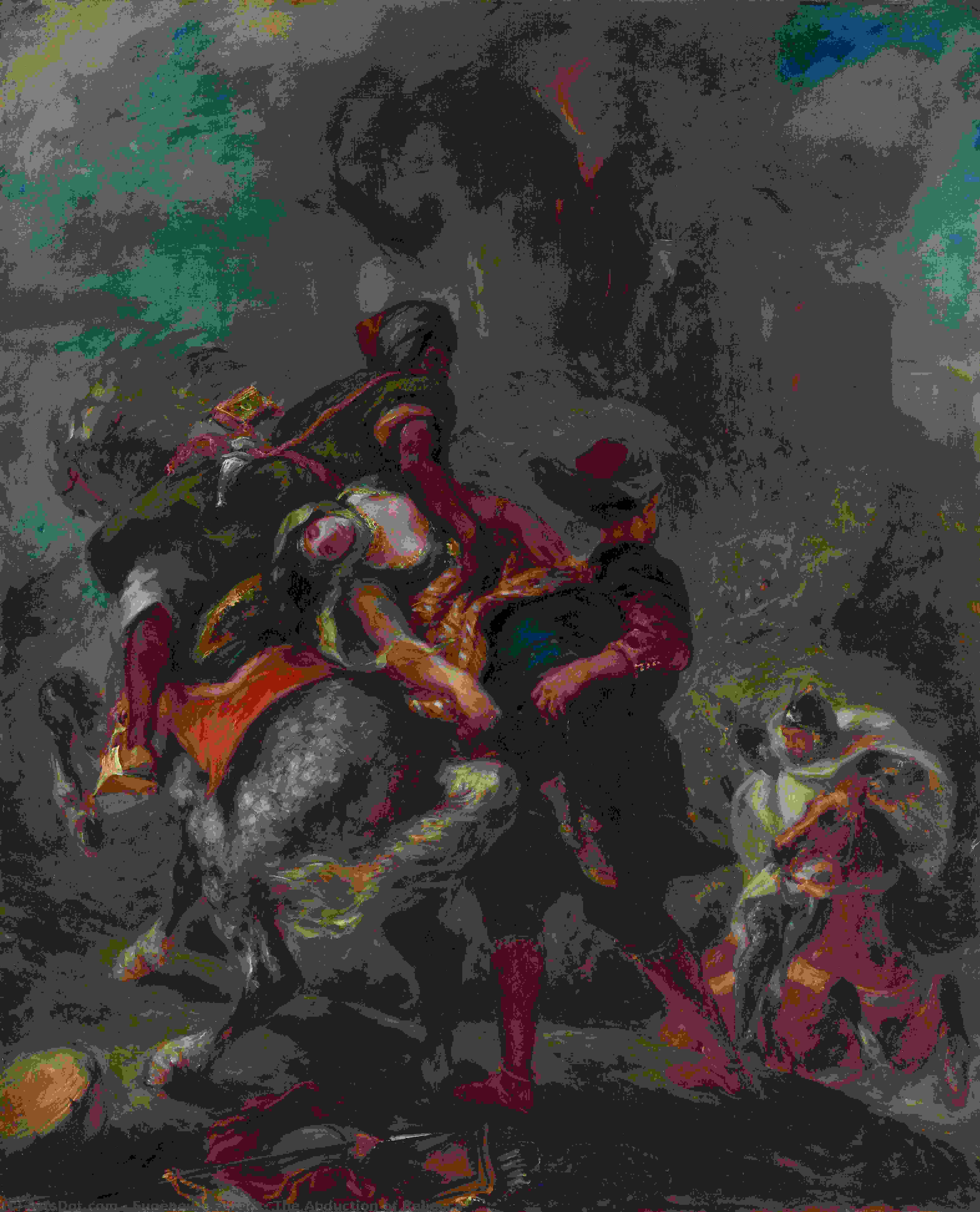 Wikioo.org - The Encyclopedia of Fine Arts - Painting, Artwork by Eugène Delacroix - The Abduction of Rebecca