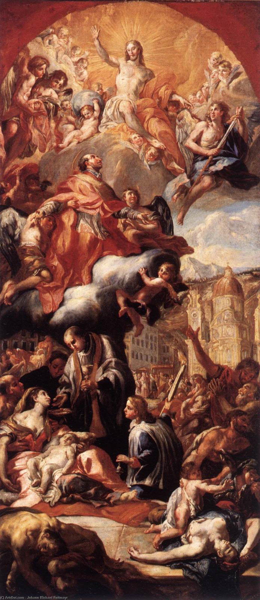 Wikioo.org - The Encyclopedia of Fine Arts - Painting, Artwork by Johann Michael Rottmayr - Apotheosis of St Charles Borromeo