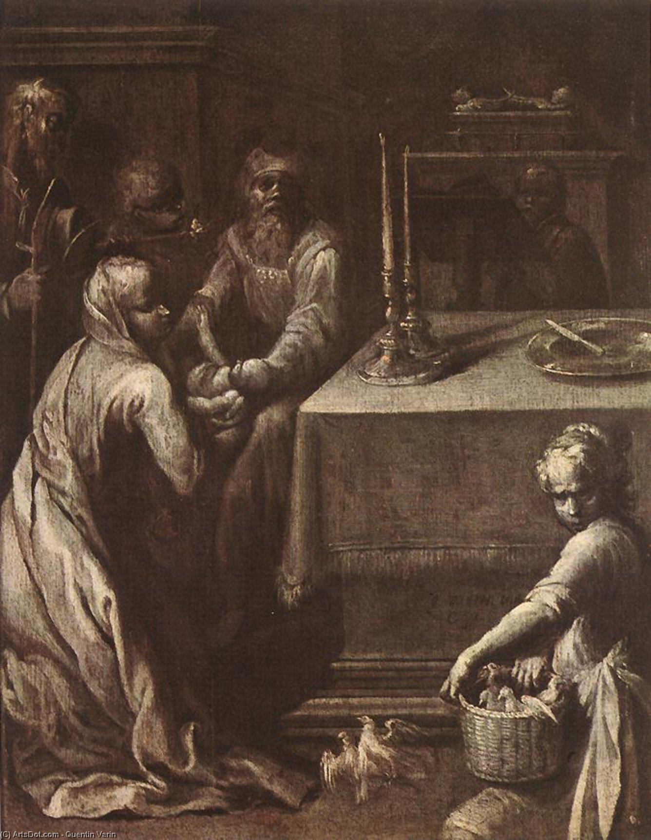Wikioo.org - The Encyclopedia of Fine Arts - Painting, Artwork by Quentin Varin - Presentation of Christ in the Temple