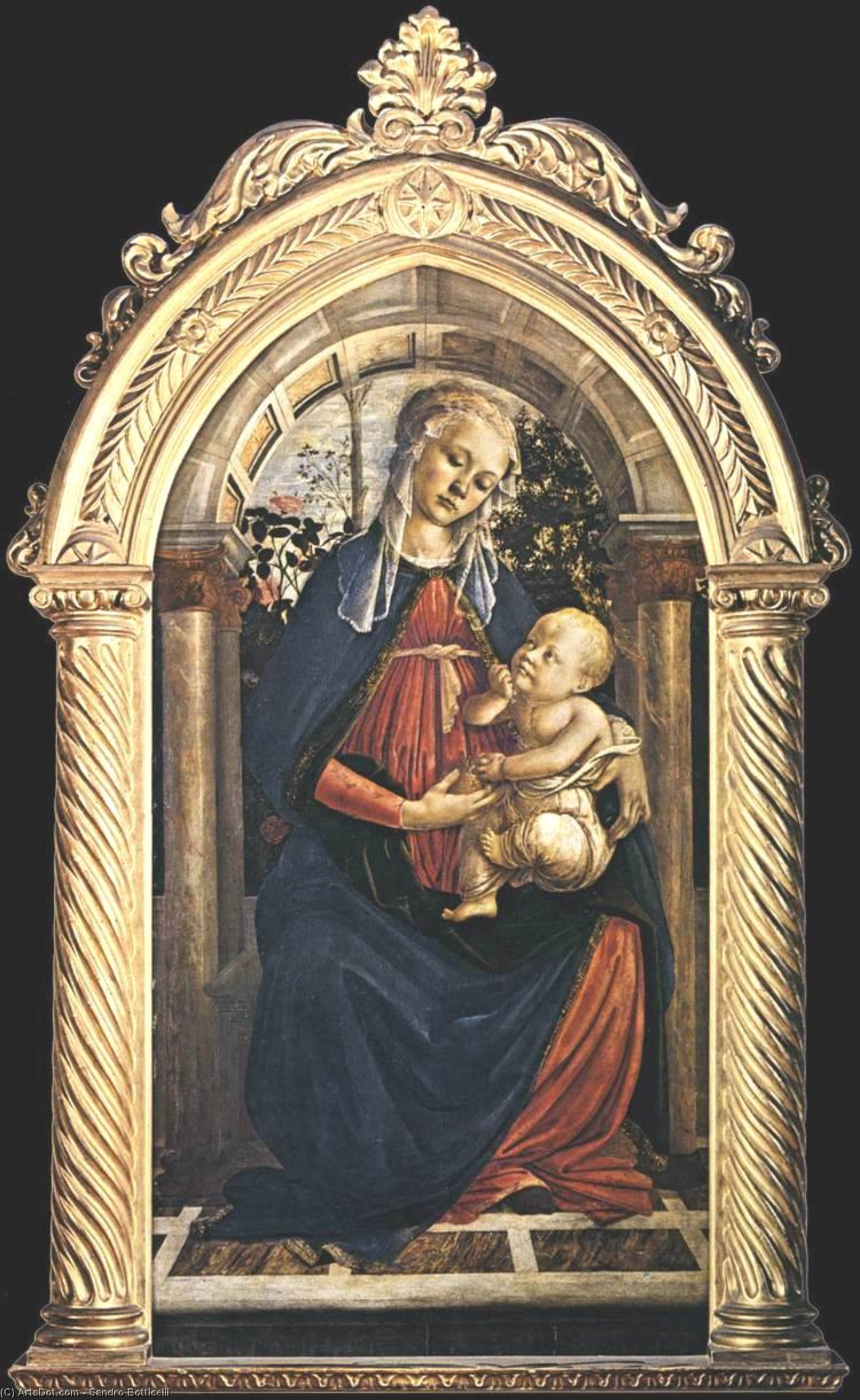 Wikioo.org - The Encyclopedia of Fine Arts - Painting, Artwork by Sandro Botticelli - Madonna of the Rosengarden (also known as Madonna del Roseto)