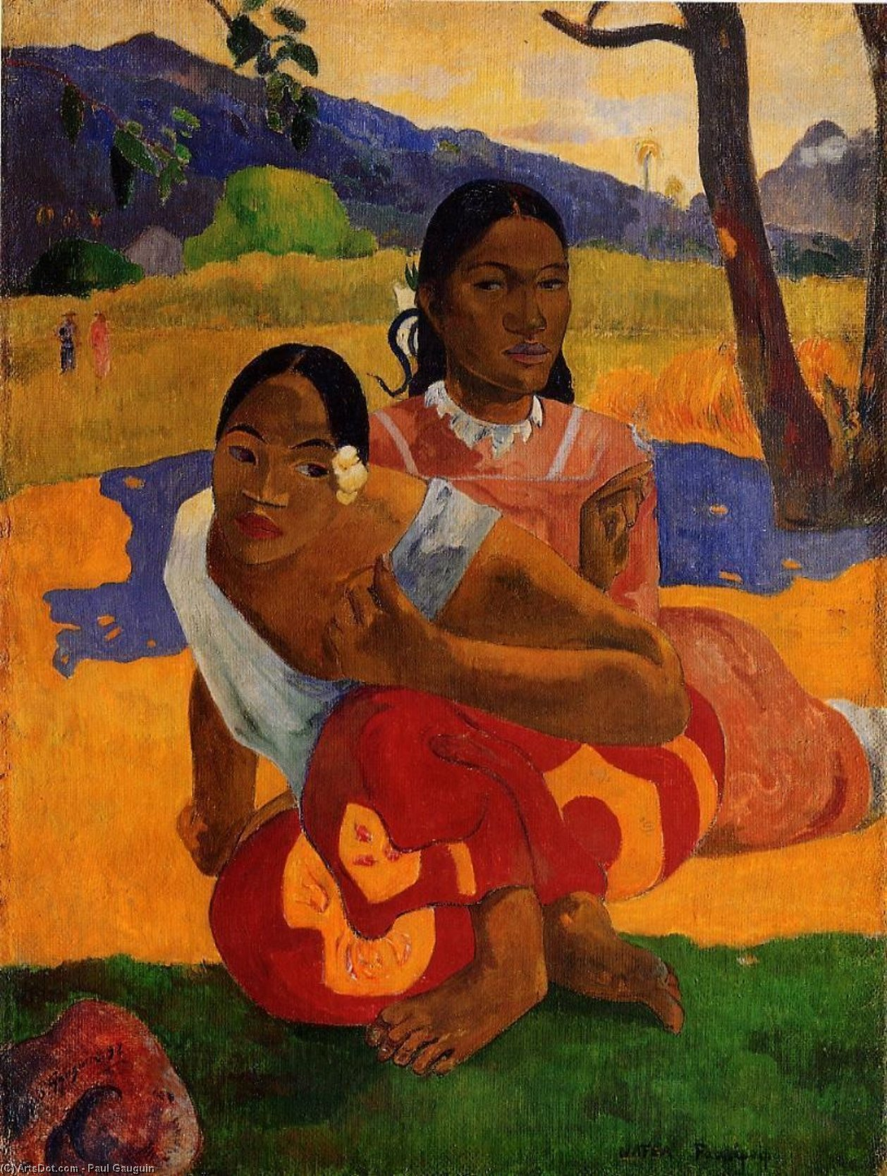 Wikioo.org - The Encyclopedia of Fine Arts - Painting, Artwork by Paul Gauguin - Nafeaffaa Ipolpo (also known as When Will You Marry?)