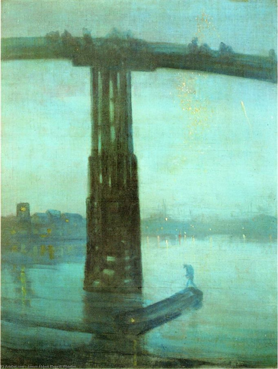 Wikioo.org - The Encyclopedia of Fine Arts - Painting, Artwork by James Abbott Mcneill Whistler - Nocturne: Blue and Gold - Old Battersea Bridge