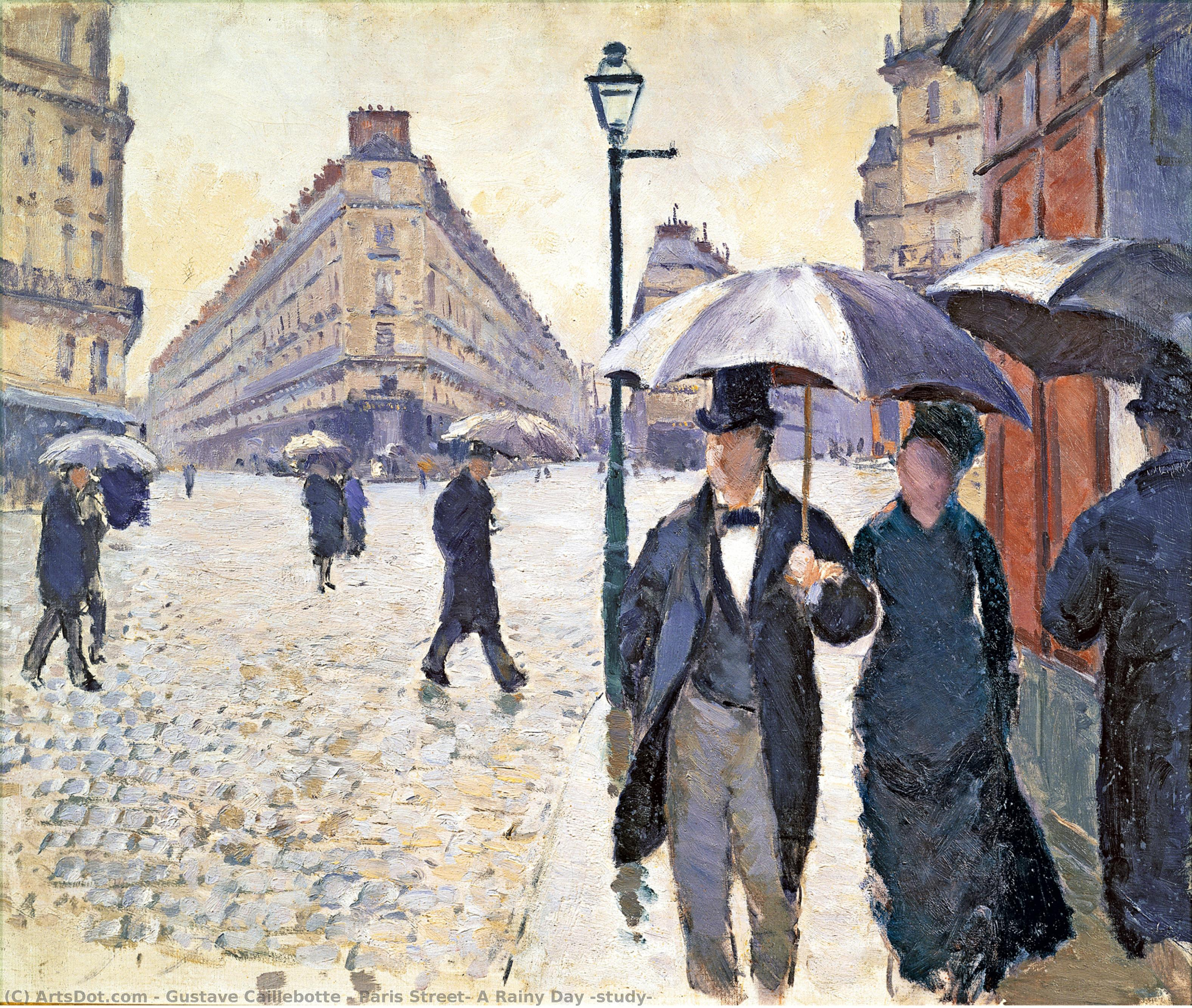 Wikioo.org - The Encyclopedia of Fine Arts - Painting, Artwork by Gustave Caillebotte - Paris Street: A Rainy Day (study)