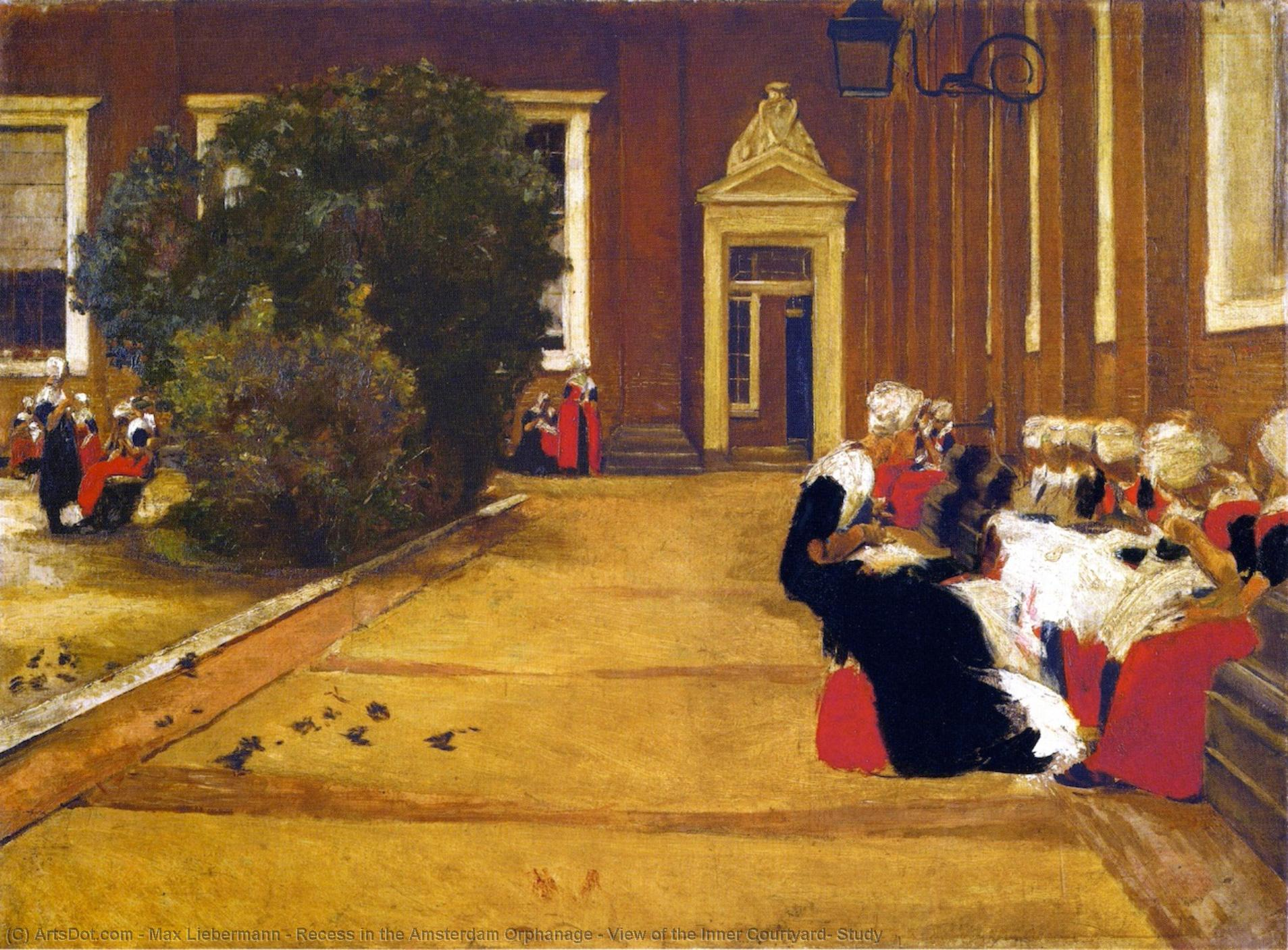 Wikioo.org - The Encyclopedia of Fine Arts - Painting, Artwork by Max Liebermann - Recess in the Amsterdam Orphanage - View of the Inner Courtyard, Study