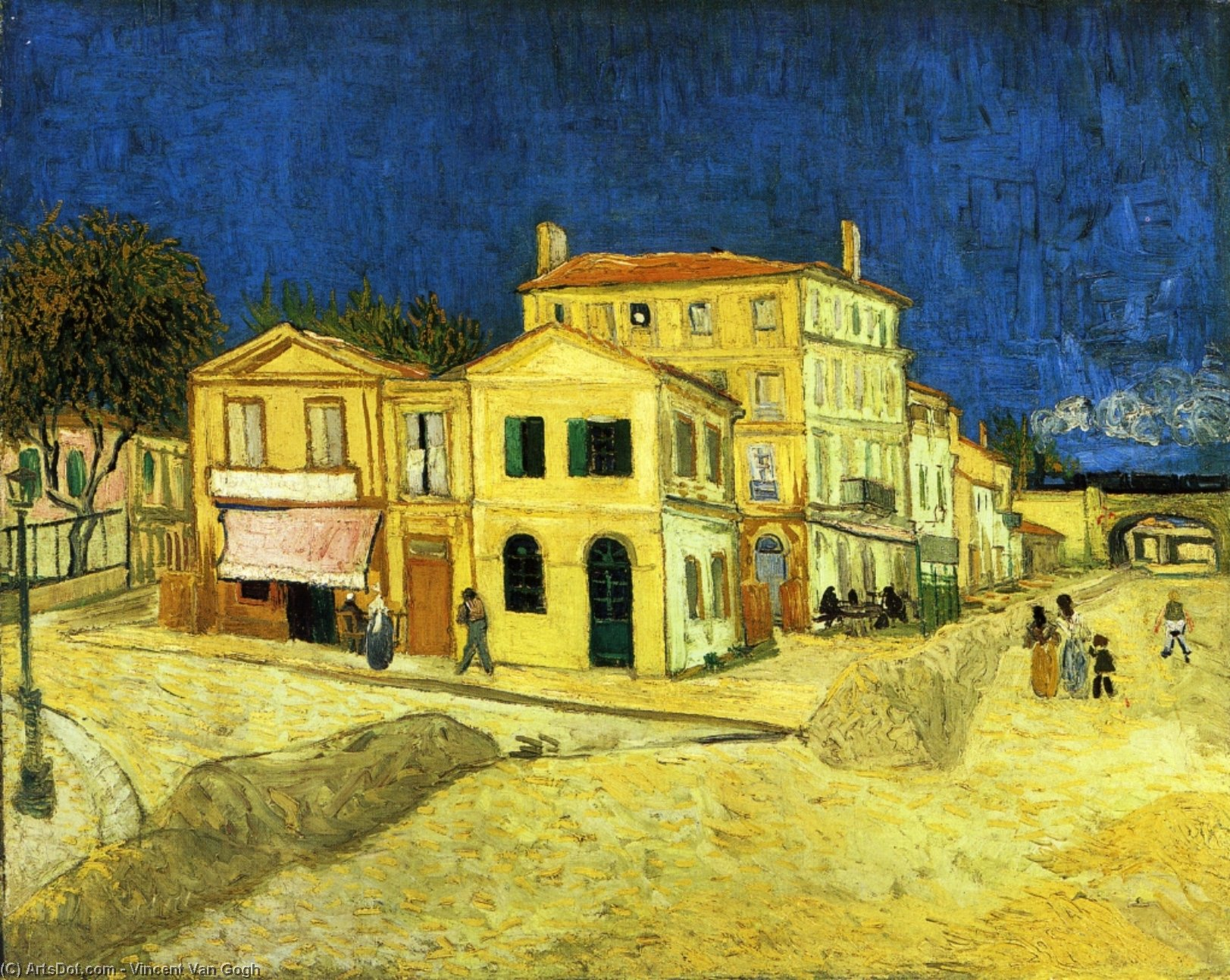 Wikioo.org - The Encyclopedia of Fine Arts - Painting, Artwork by Vincent Van Gogh - The Street, the Yellow House