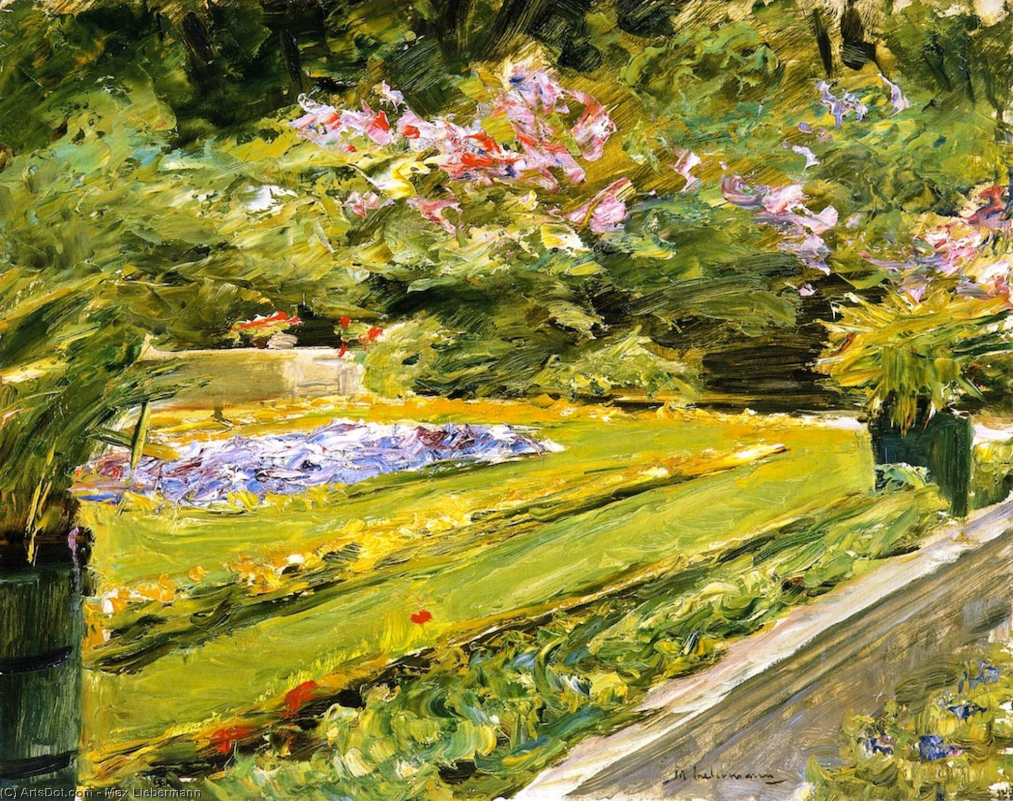 Wikioo.org - The Encyclopedia of Fine Arts - Painting, Artwork by Max Liebermann - The Terrace in the Wannsee Garden toward the Northwest