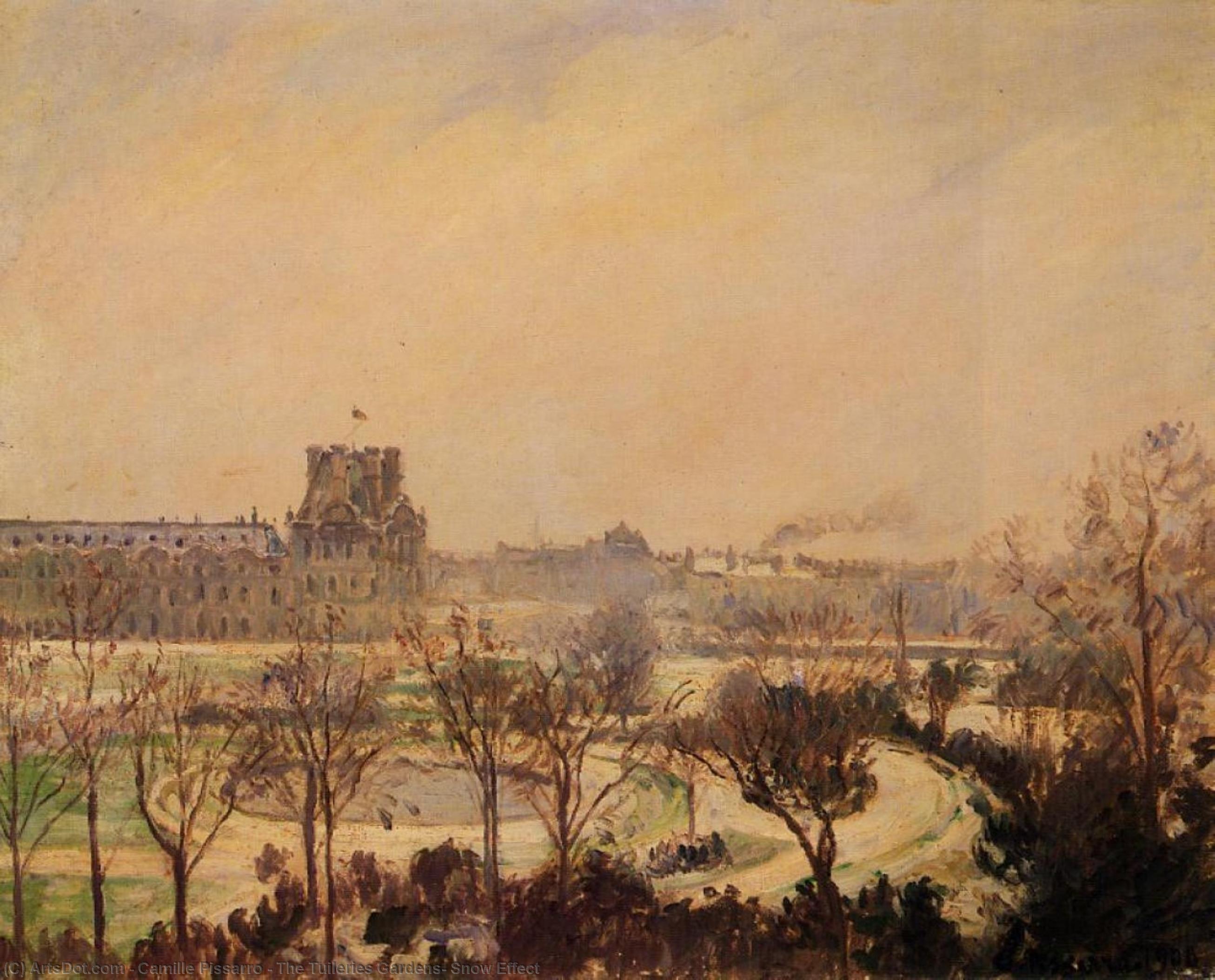 Wikioo.org - Die Enzyklopädie bildender Kunst - Malerei, Kunstwerk von Camille Pissarro - die Tuilerien-Gärten Schnee  wirkung