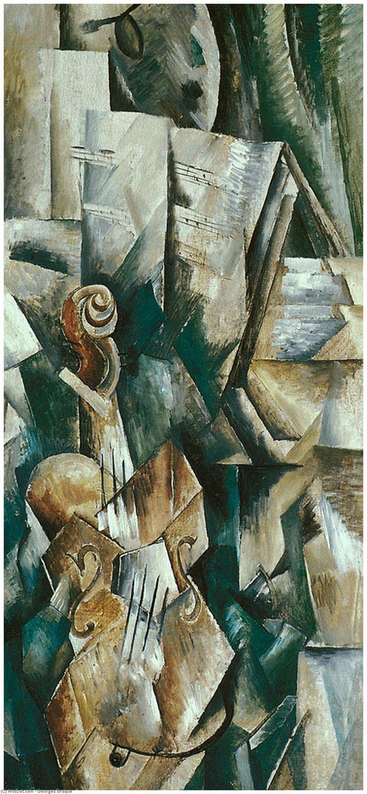 Wikioo.org – La Enciclopedia de las Bellas Artes - Pintura, Obras de arte de Georges Braque - violín y paleta