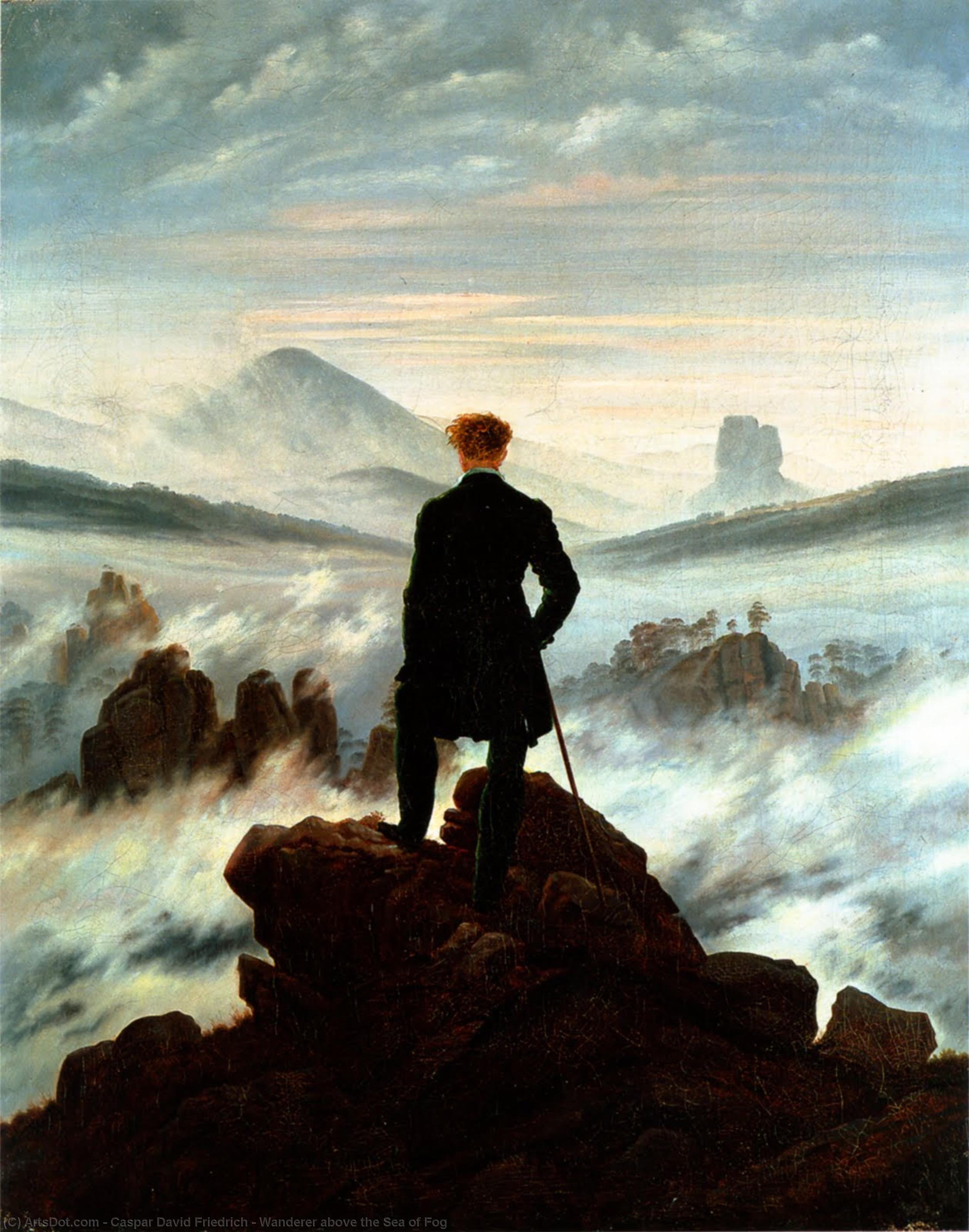 Wikioo.org - The Encyclopedia of Fine Arts - Painting, Artwork by Caspar David Friedrich - Wanderer above the Sea of Fog