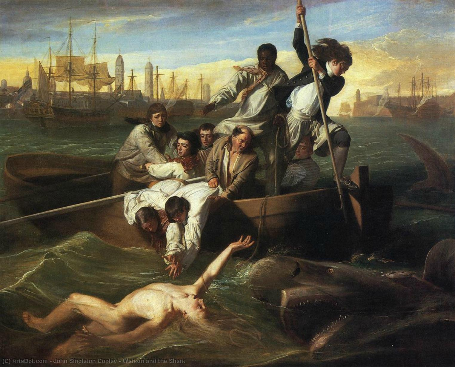 Wikioo.org - The Encyclopedia of Fine Arts - Painting, Artwork by John Singleton Copley - Watson and the Shark