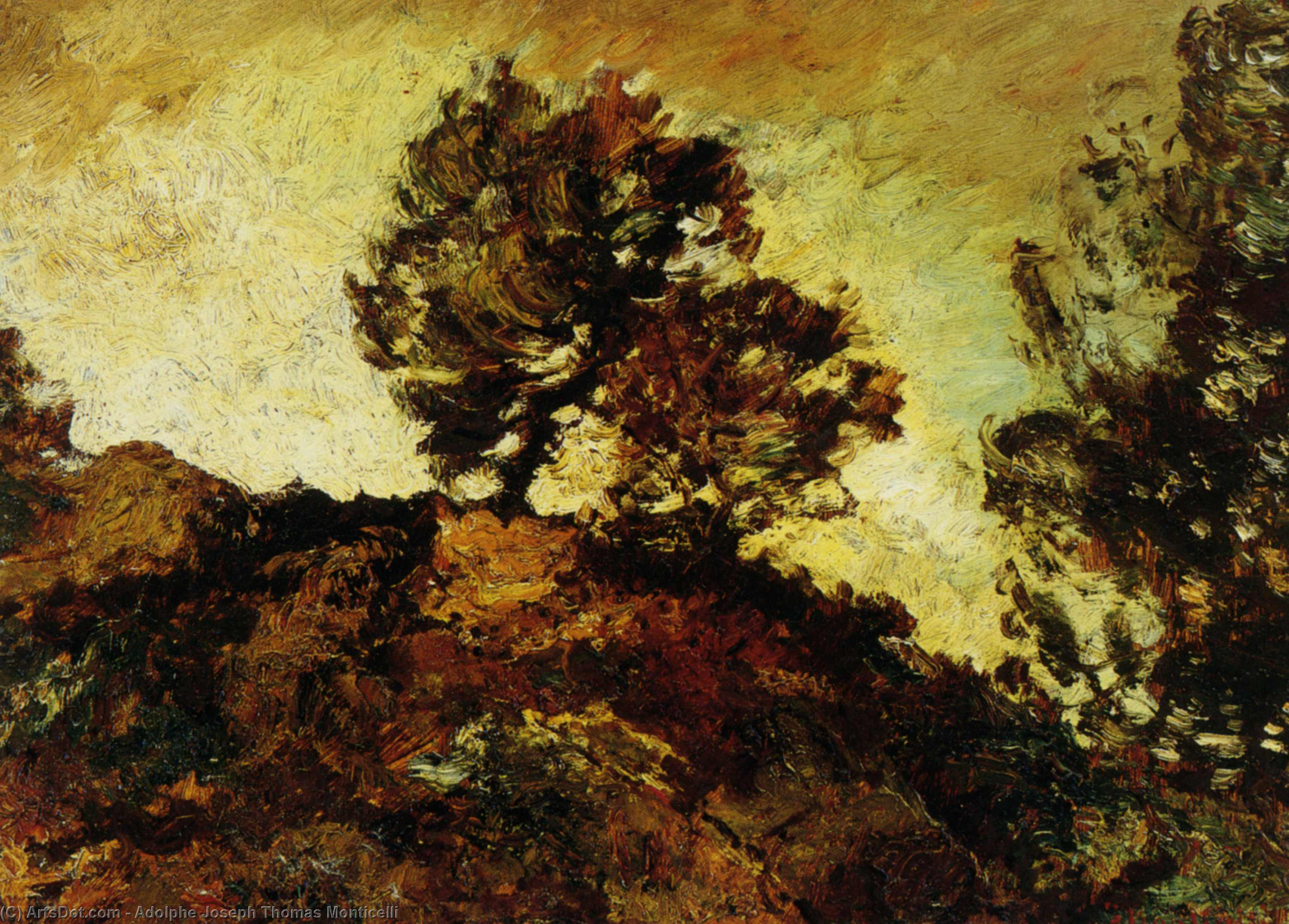 Wikioo.org - The Encyclopedia of Fine Arts - Painting, Artwork by Adolphe Joseph Thomas Monticelli - Rocky Landscape