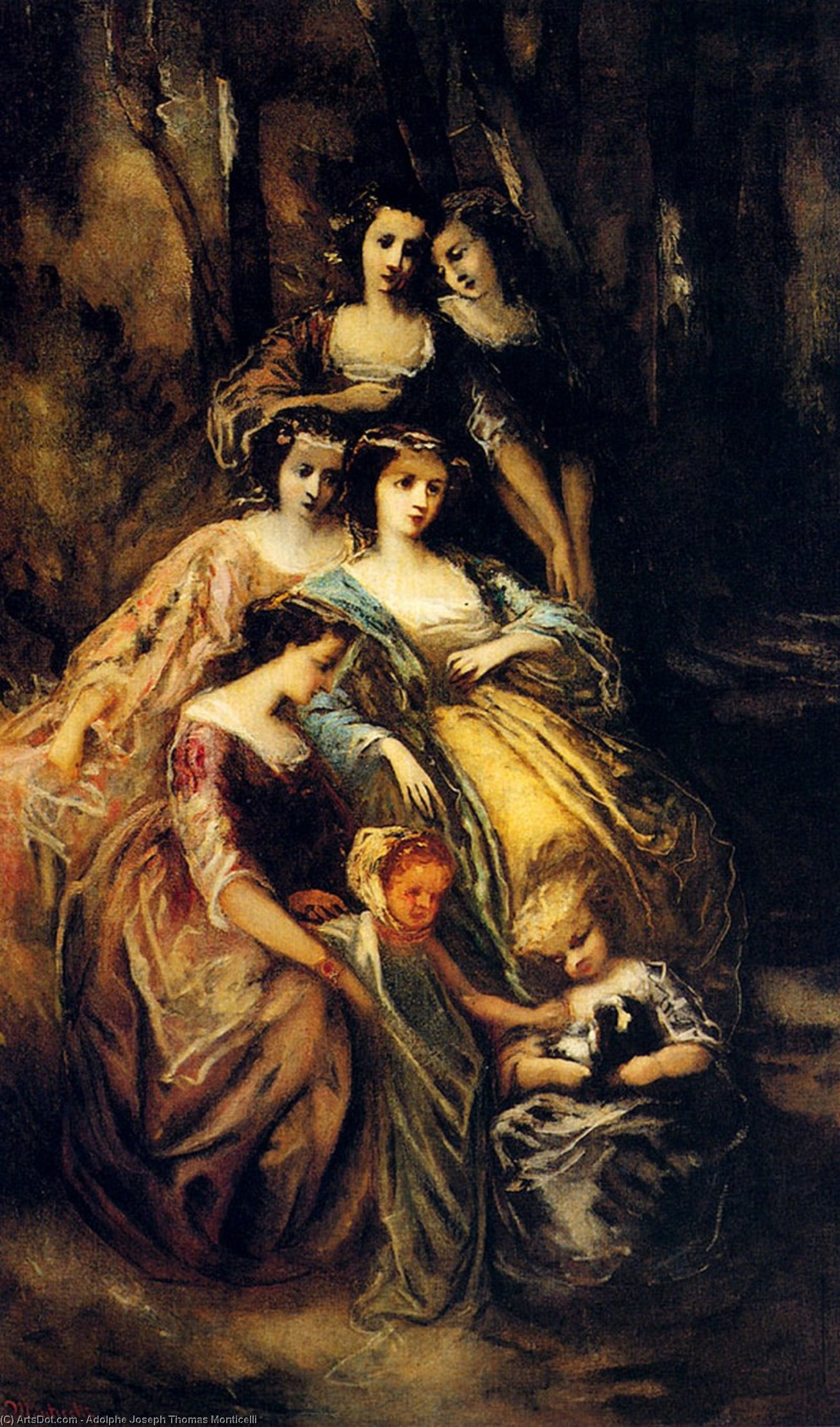 Wikioo.org - The Encyclopedia of Fine Arts - Painting, Artwork by Adolphe Joseph Thomas Monticelli - Empress Eugenie And Her Attendants