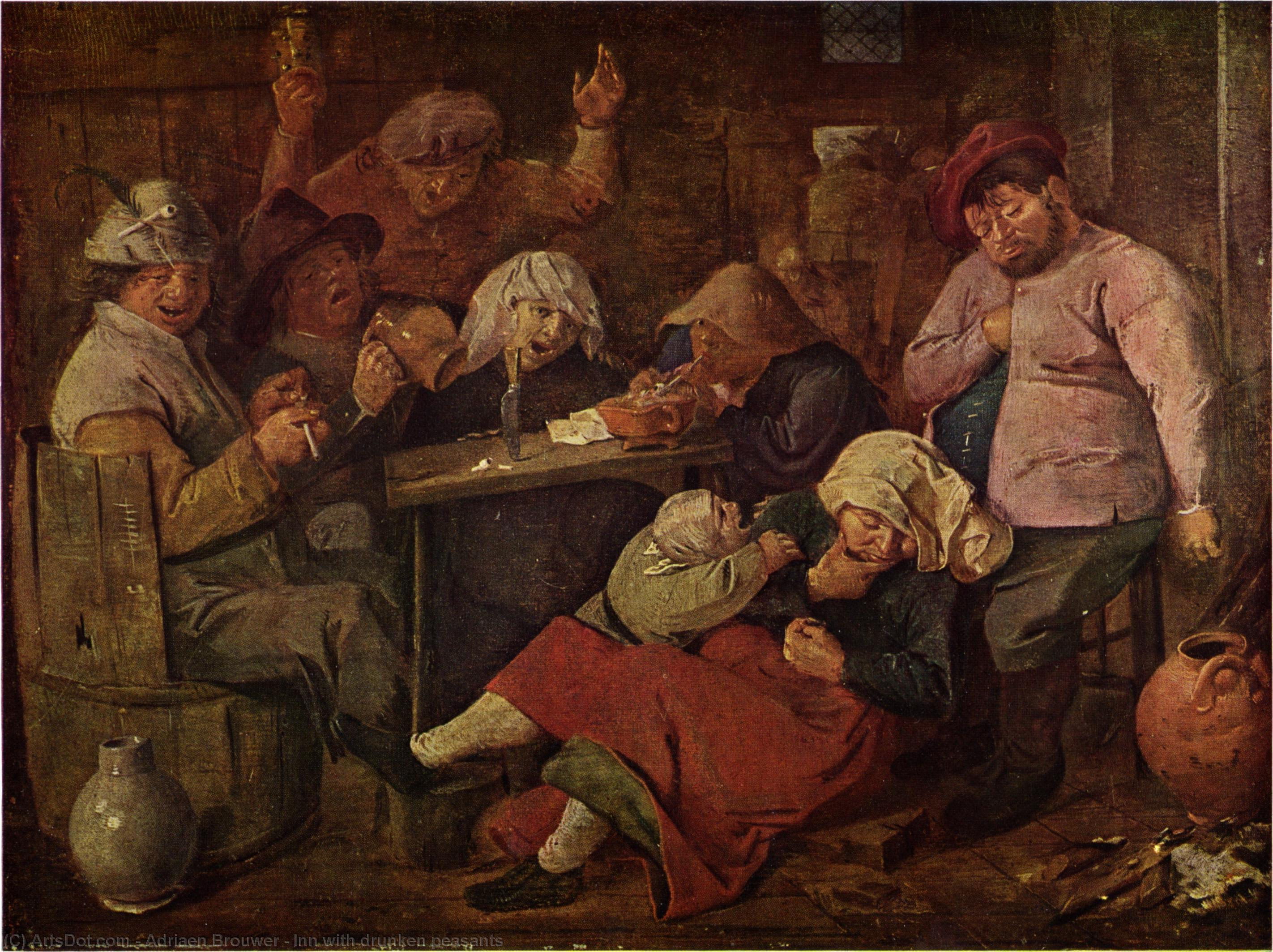 Wikioo.org - The Encyclopedia of Fine Arts - Painting, Artwork by Adriaen Brouwer - Inn with drunken peasants