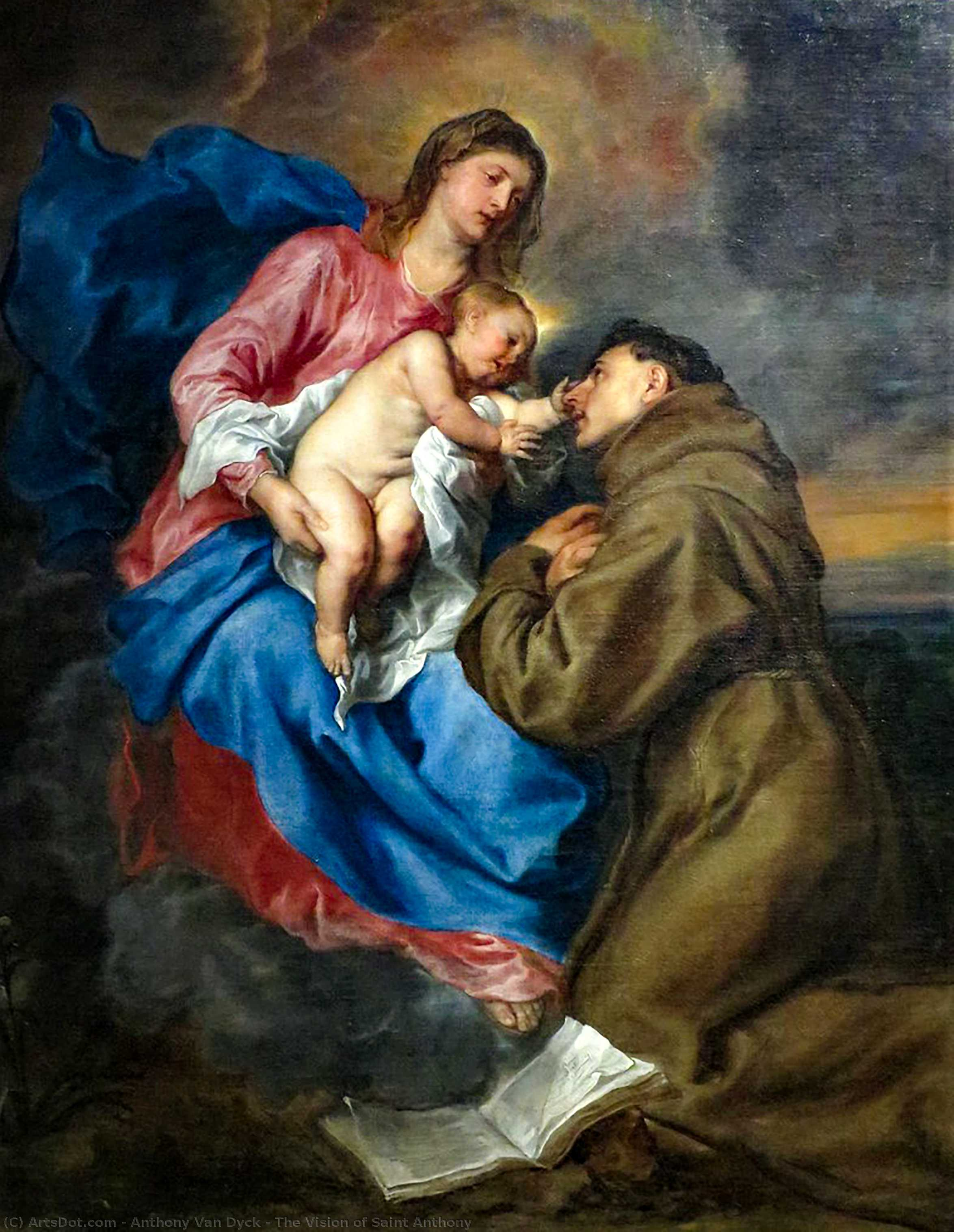 Wikioo.org - The Encyclopedia of Fine Arts - Painting, Artwork by Anthony Van Dyck - The Vision of Saint Anthony