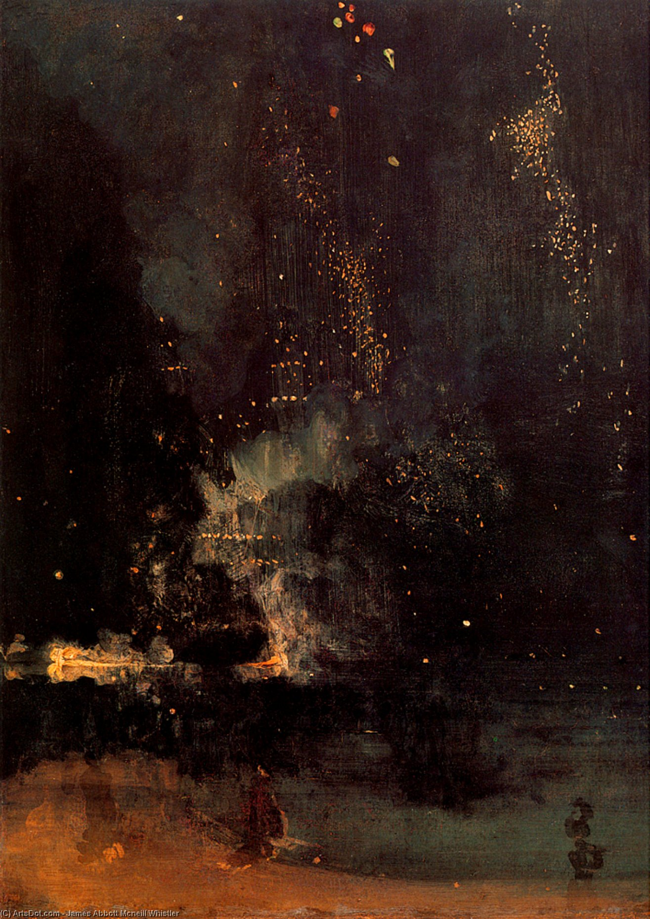 Wikioo.org - The Encyclopedia of Fine Arts - Painting, Artwork by James Abbott Mcneill Whistler - Nocturne in Black and Gold The Falling Rocket