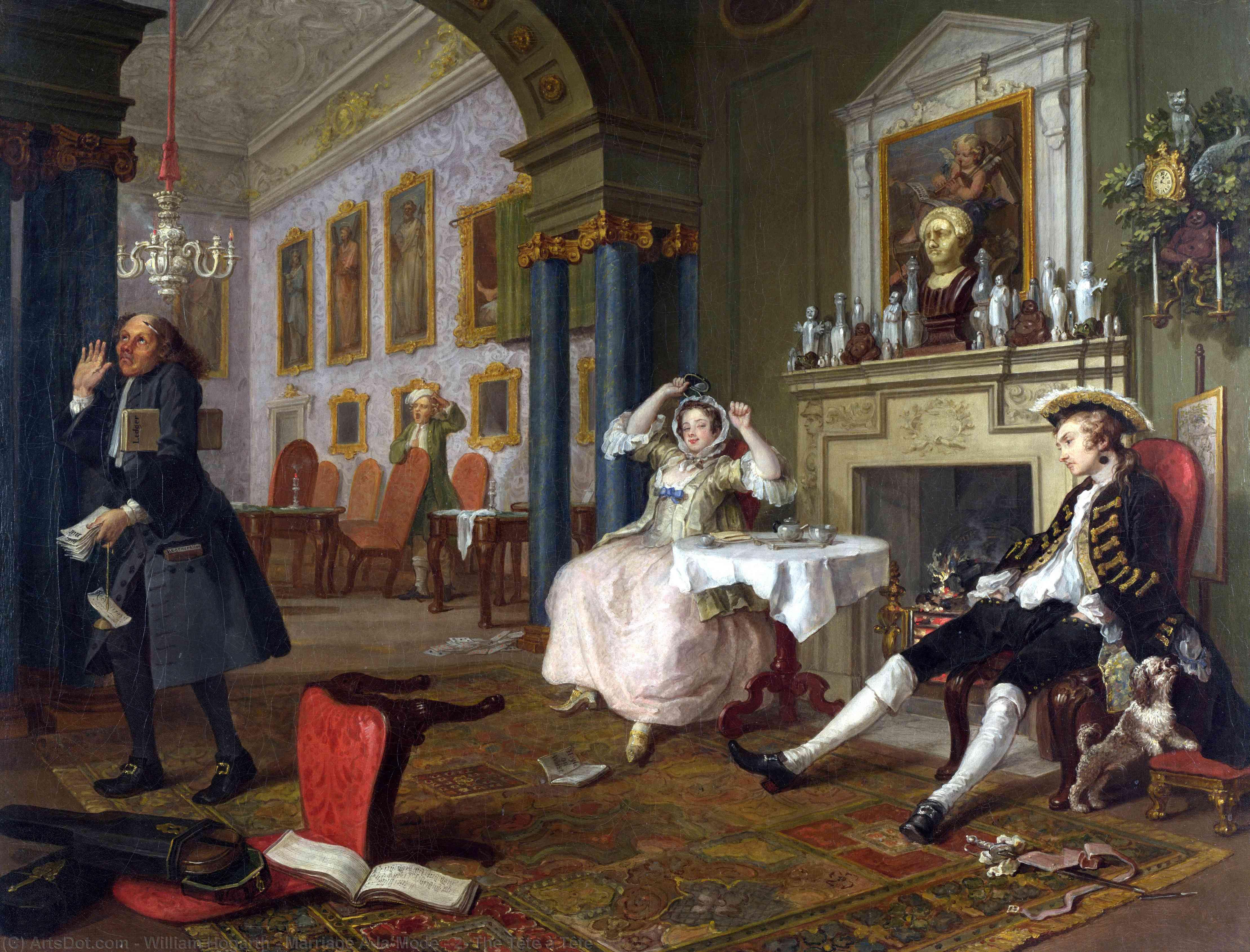 WikiOO.org - Enciklopedija dailės - Tapyba, meno kuriniai William Hogarth - Marriage A-la-Mode - 2, The Tête à Tête