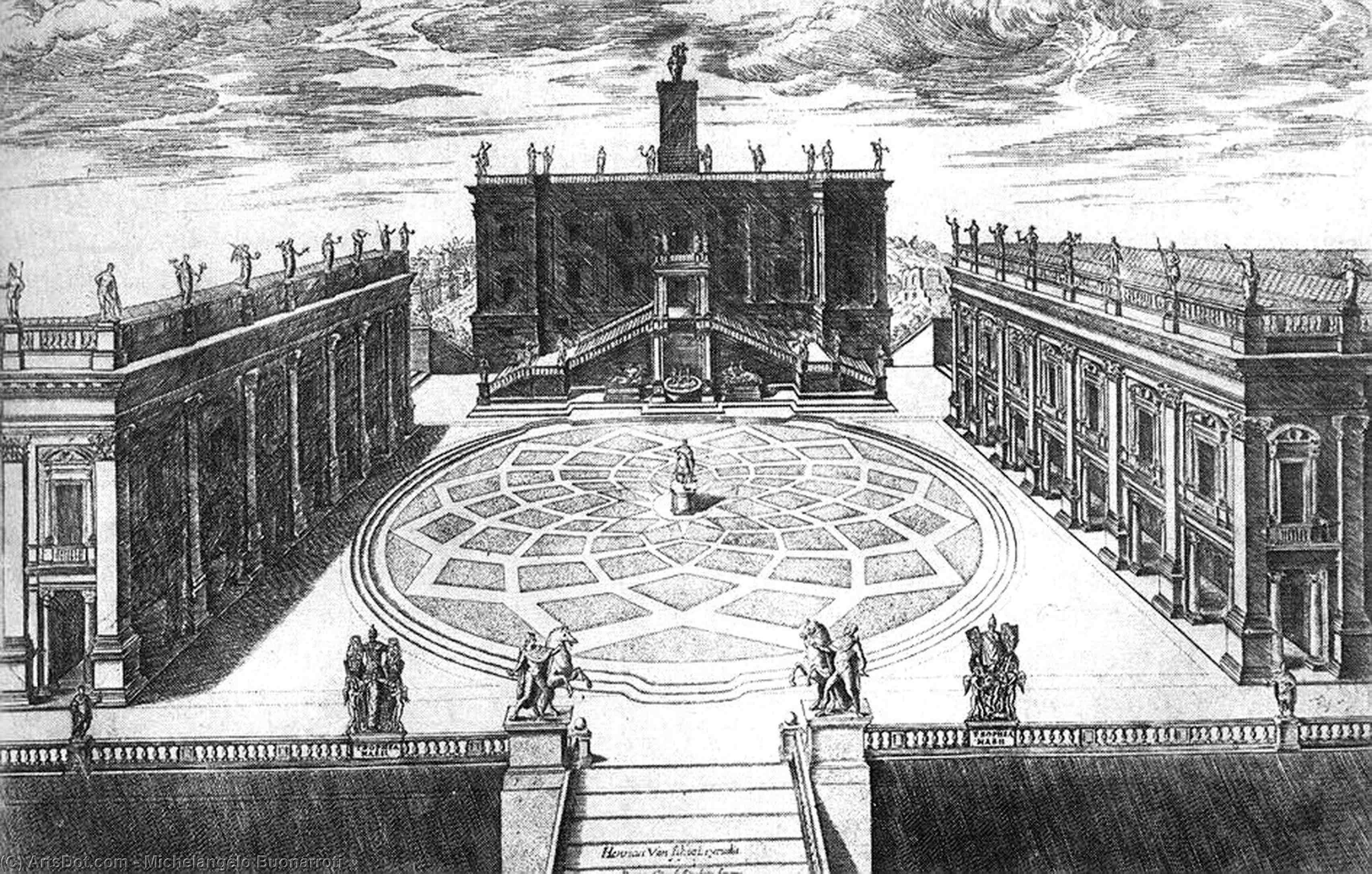 Wikioo.org – La Enciclopedia de las Bellas Artes - Pintura, Obras de arte de Michelangelo Buonarroti - tardío -   diseño  provisionalmente  el  Colina Capitolina