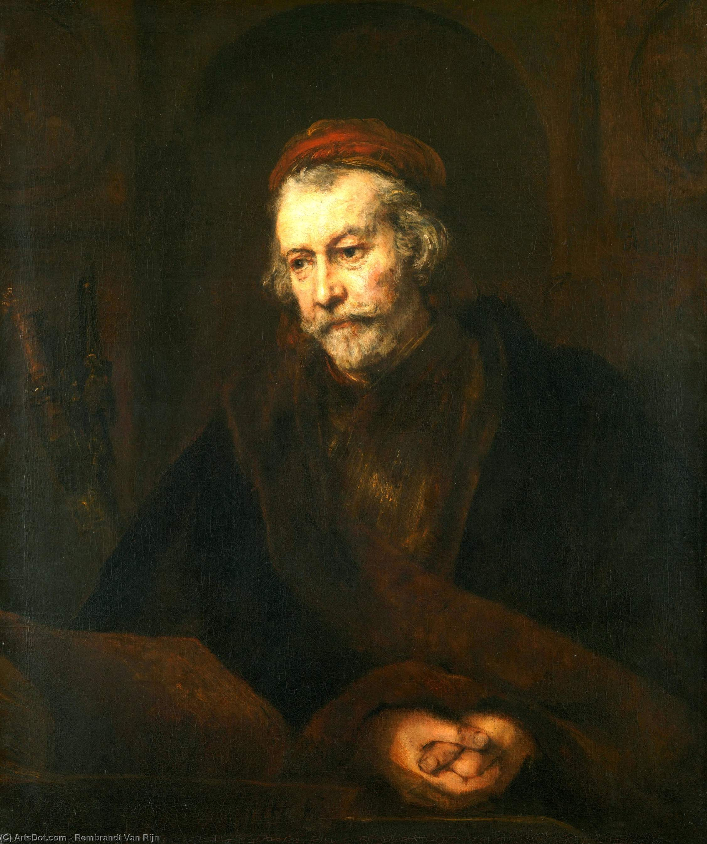 Wikioo.org - The Encyclopedia of Fine Arts - Painting, Artwork by Rembrandt Van Rijn - An Elderly Man as Saint Paul