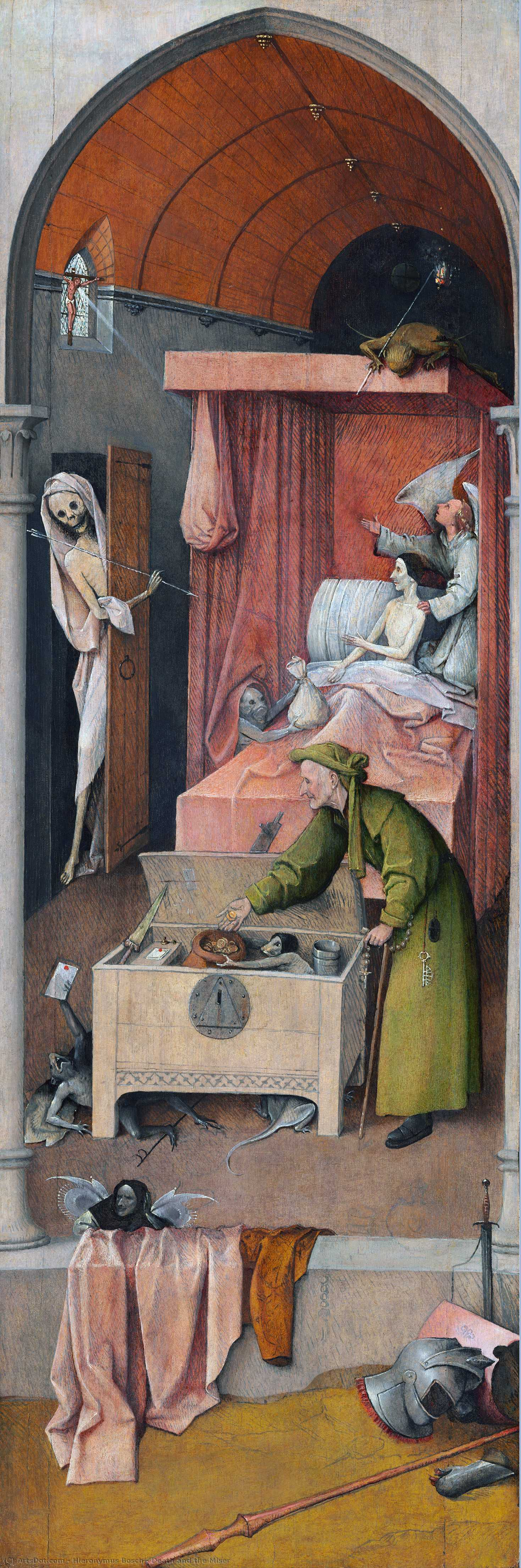 Wikioo.org - The Encyclopedia of Fine Arts - Painting, Artwork by Hieronymus Bosch - Death and the Miser