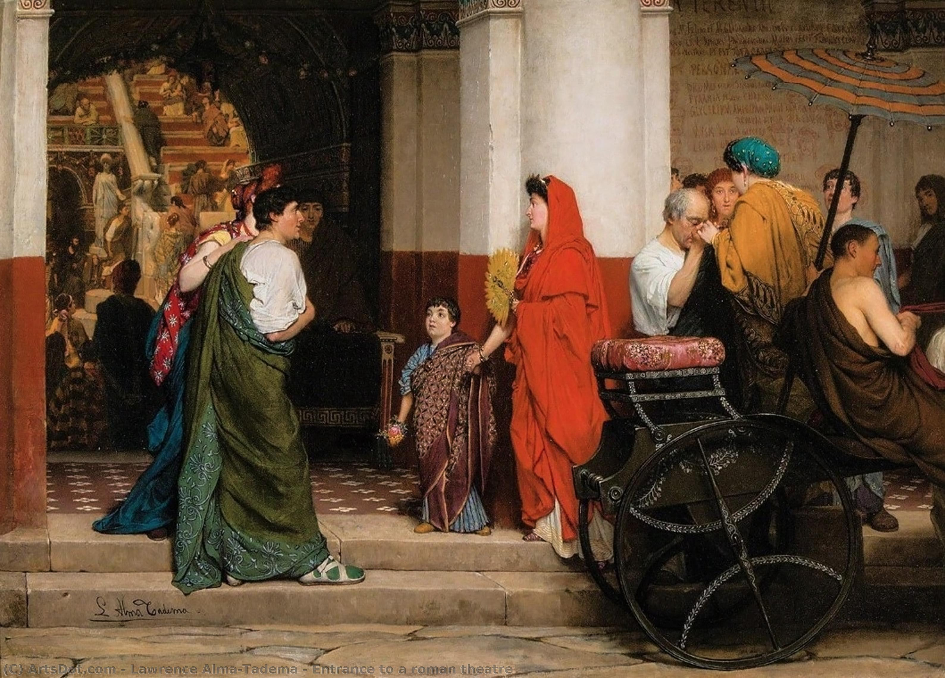 Wikioo.org - The Encyclopedia of Fine Arts - Painting, Artwork by Lawrence Alma-Tadema - Entrance to a roman theatre
