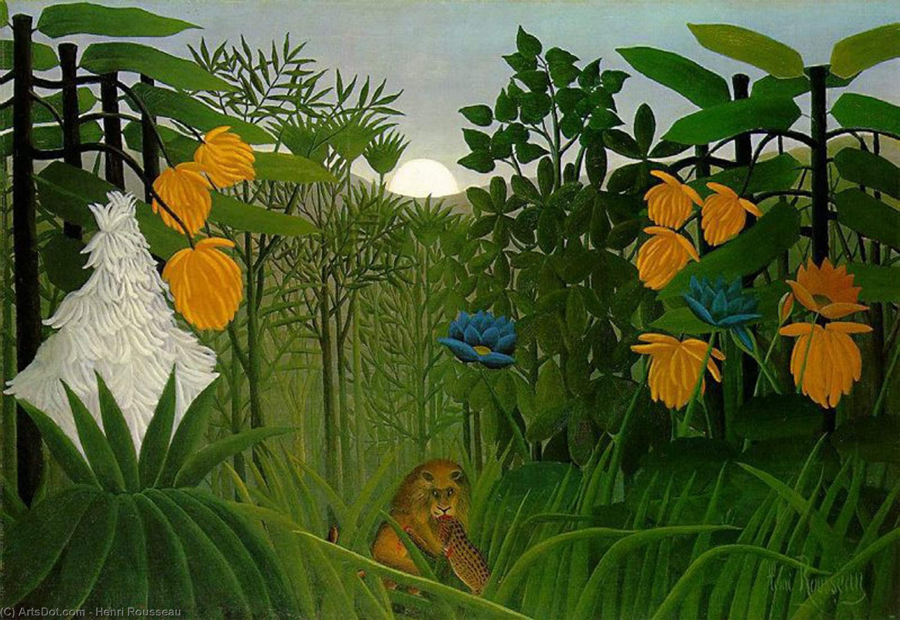 Wikioo.org - The Encyclopedia of Fine Arts - Painting, Artwork by Henri Julien Félix Rousseau (Le Douanier) - The repast of the lion, The