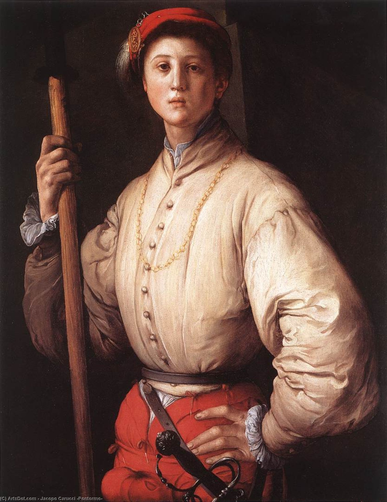 Wikioo.org - The Encyclopedia of Fine Arts - Painting, Artwork by Jacopo Carucci (Pontormo) - Halberdier