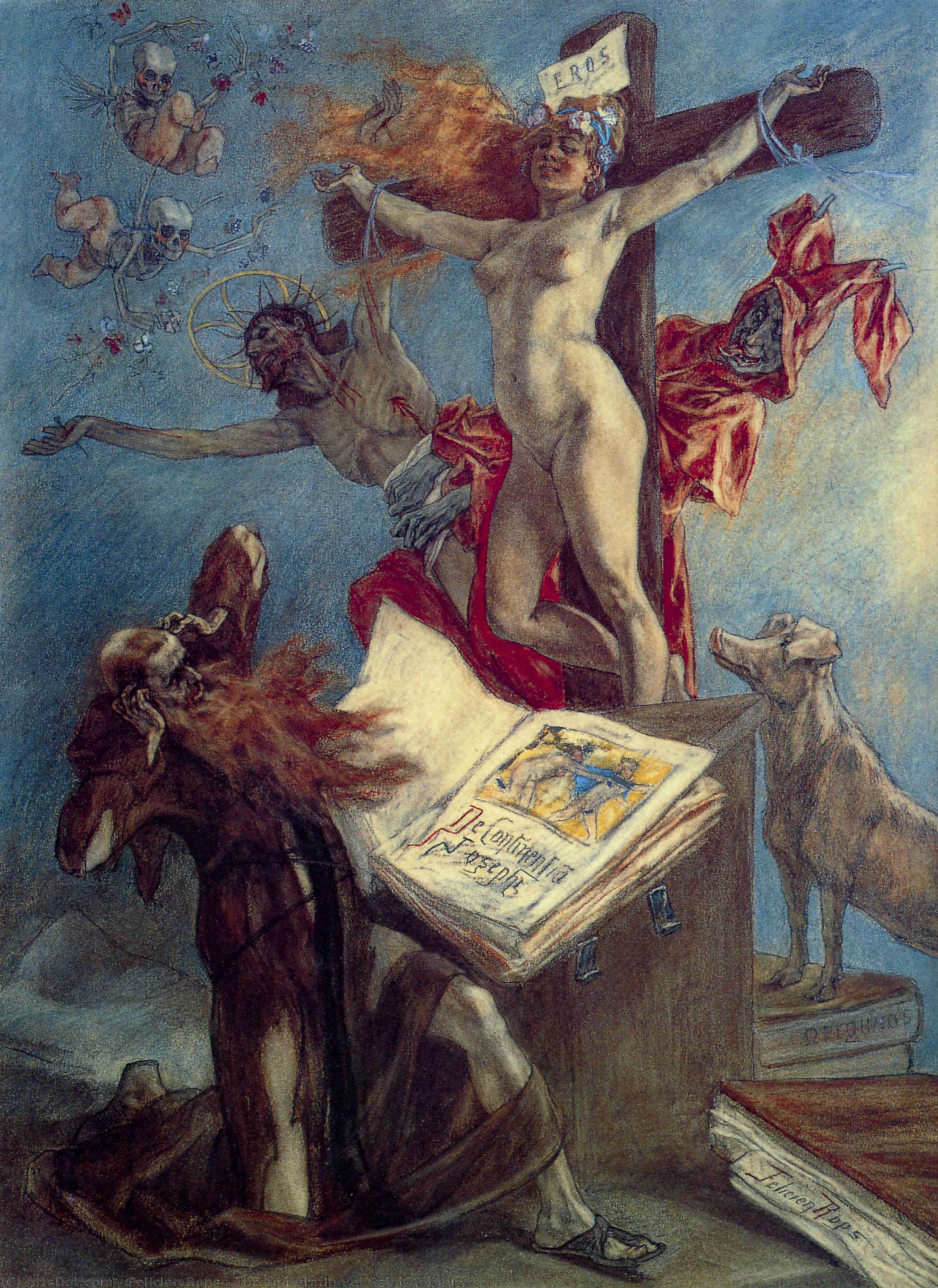 Wikoo.org - موسوعة الفنون الجميلة - اللوحة، العمل الفني Felicien Rops - The Temptation of Saint Anthony