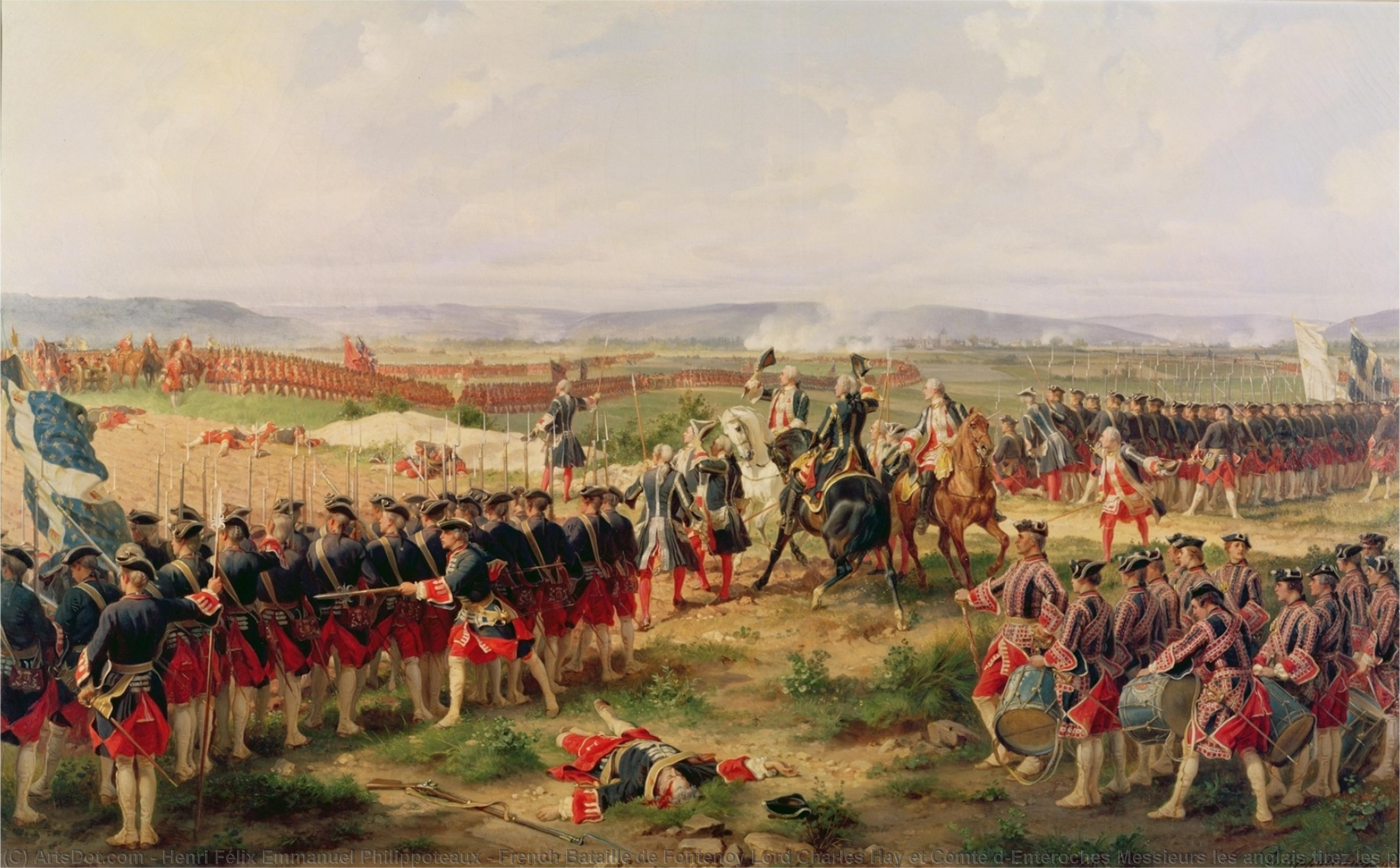 Wikioo.org - The Encyclopedia of Fine Arts - Painting, Artwork by Henri Félix Emmanuel Philippoteaux - French Bataille de Fontenoy Lord Charles Hay et Comte d'Enteroches Messieurs les anglais tirez les premiers The Battle of Fontenoy, 1745 The French and the Allies Confronting Each Other