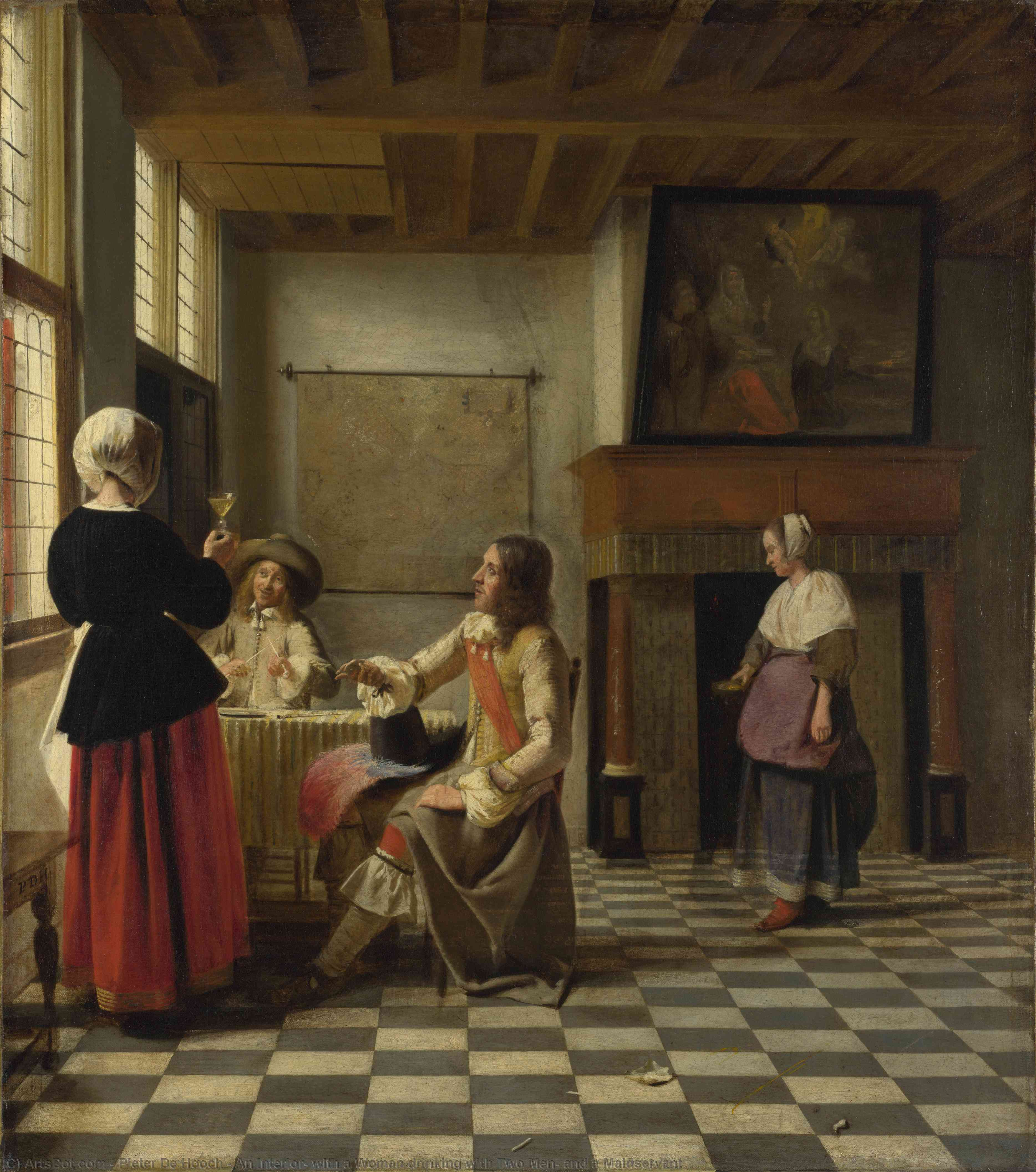 Wikioo.org - The Encyclopedia of Fine Arts - Painting, Artwork by Pieter De Hooch - An Interior, with a Woman drinking with Two Men, and a Maidservant