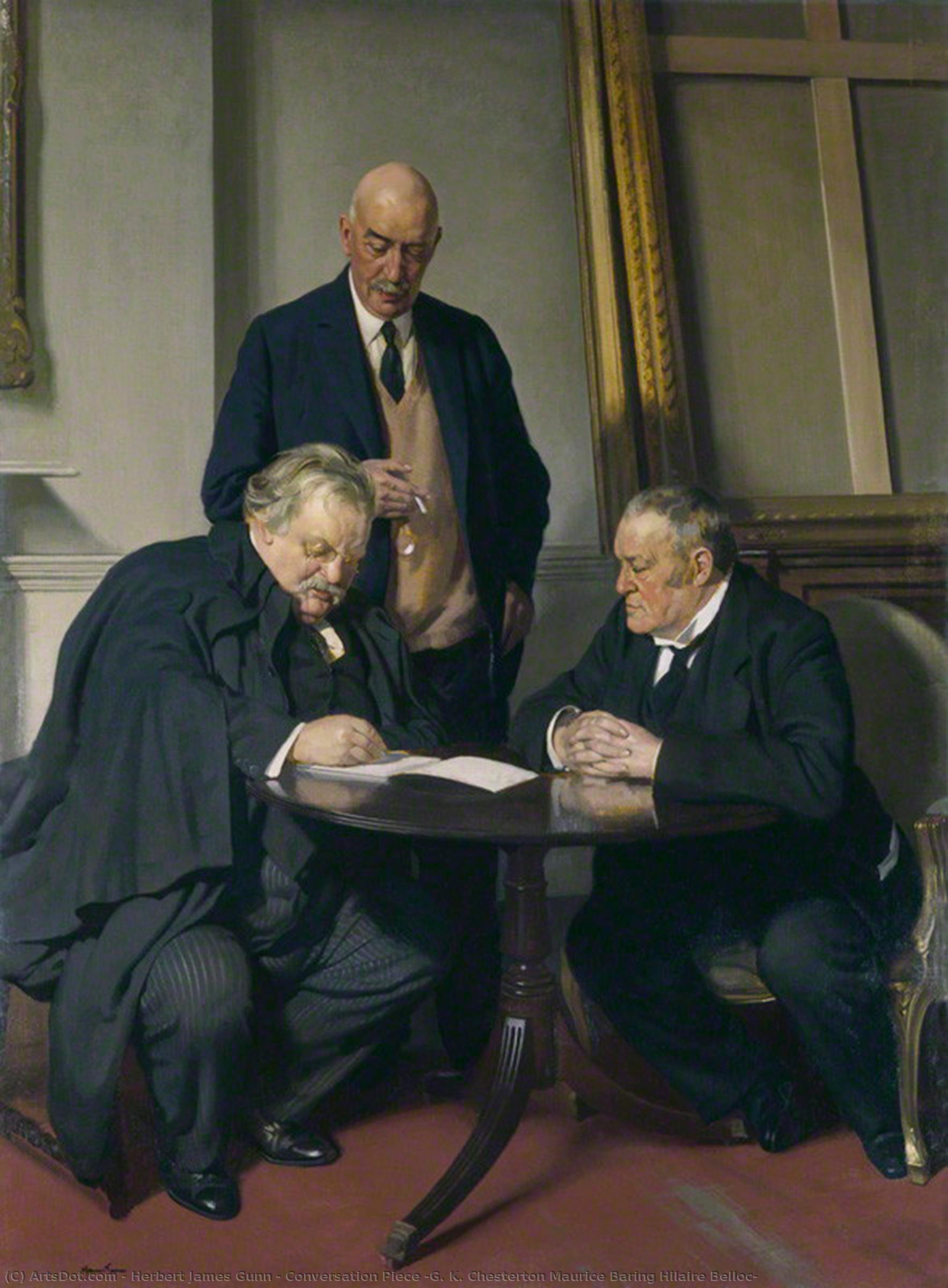 Wikioo.org - The Encyclopedia of Fine Arts - Painting, Artwork by Herbert James Gunn - Conversation Piece (G. K. Chesterton Maurice Baring Hilaire Belloc)