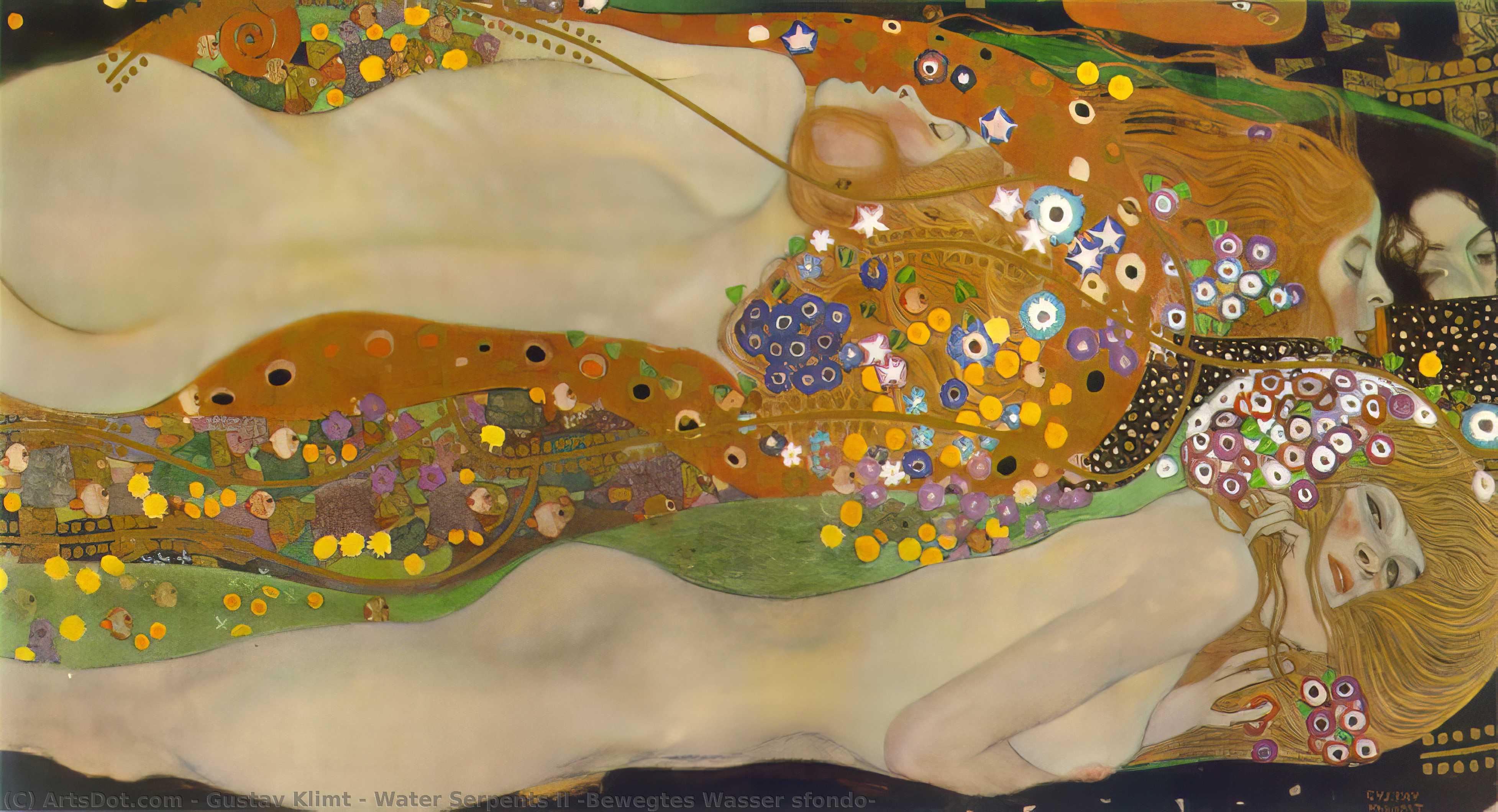 WikiOO.org - Enciclopédia das Belas Artes - Pintura, Arte por Gustav Klimt - Water Serpents II (Bewegtes Wasser sfondo)