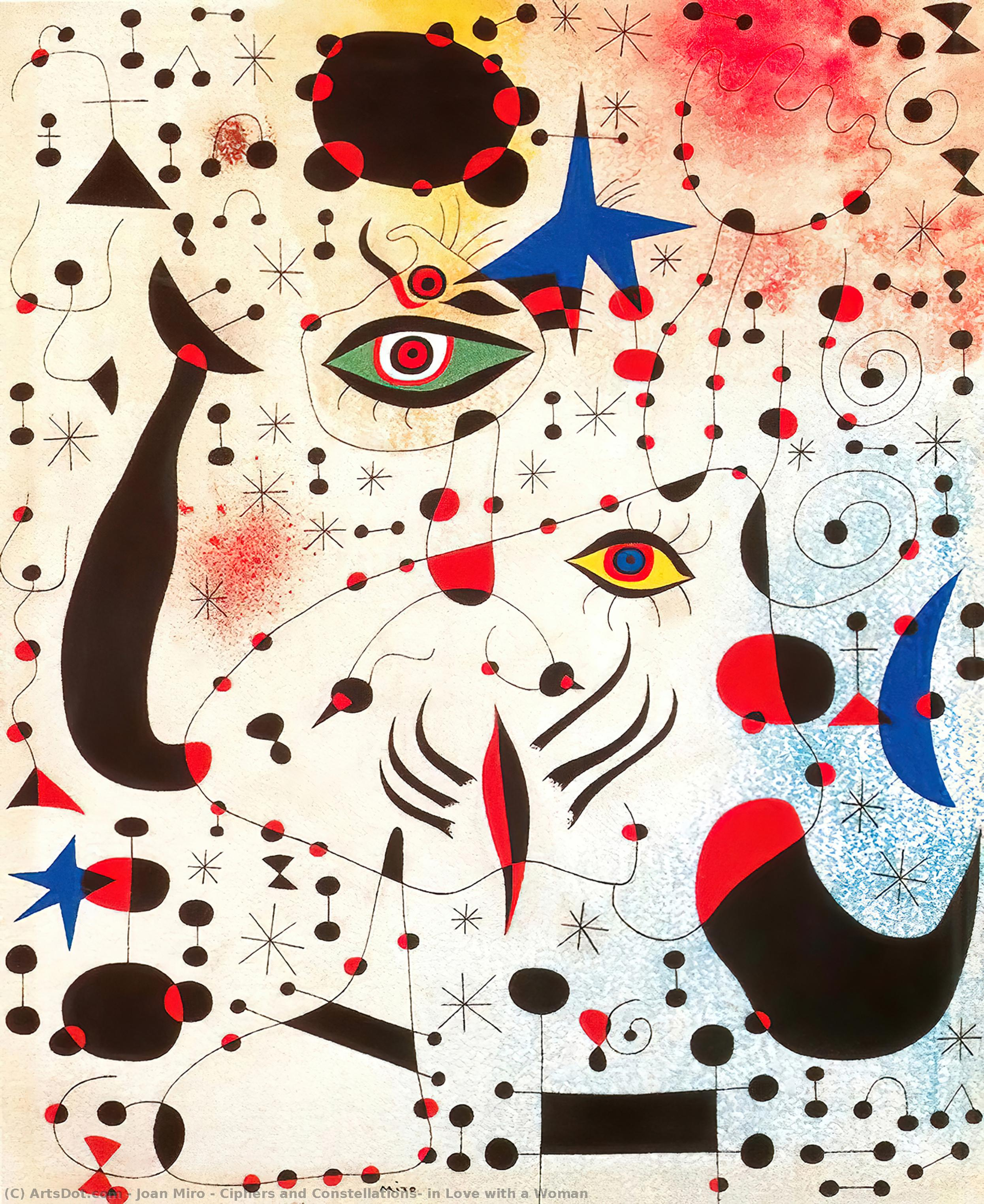 Wikioo.org - The Encyclopedia of Fine Arts - Painting, Artwork by Joan Miro - Ciphers and Constellations, in Love with a Woman