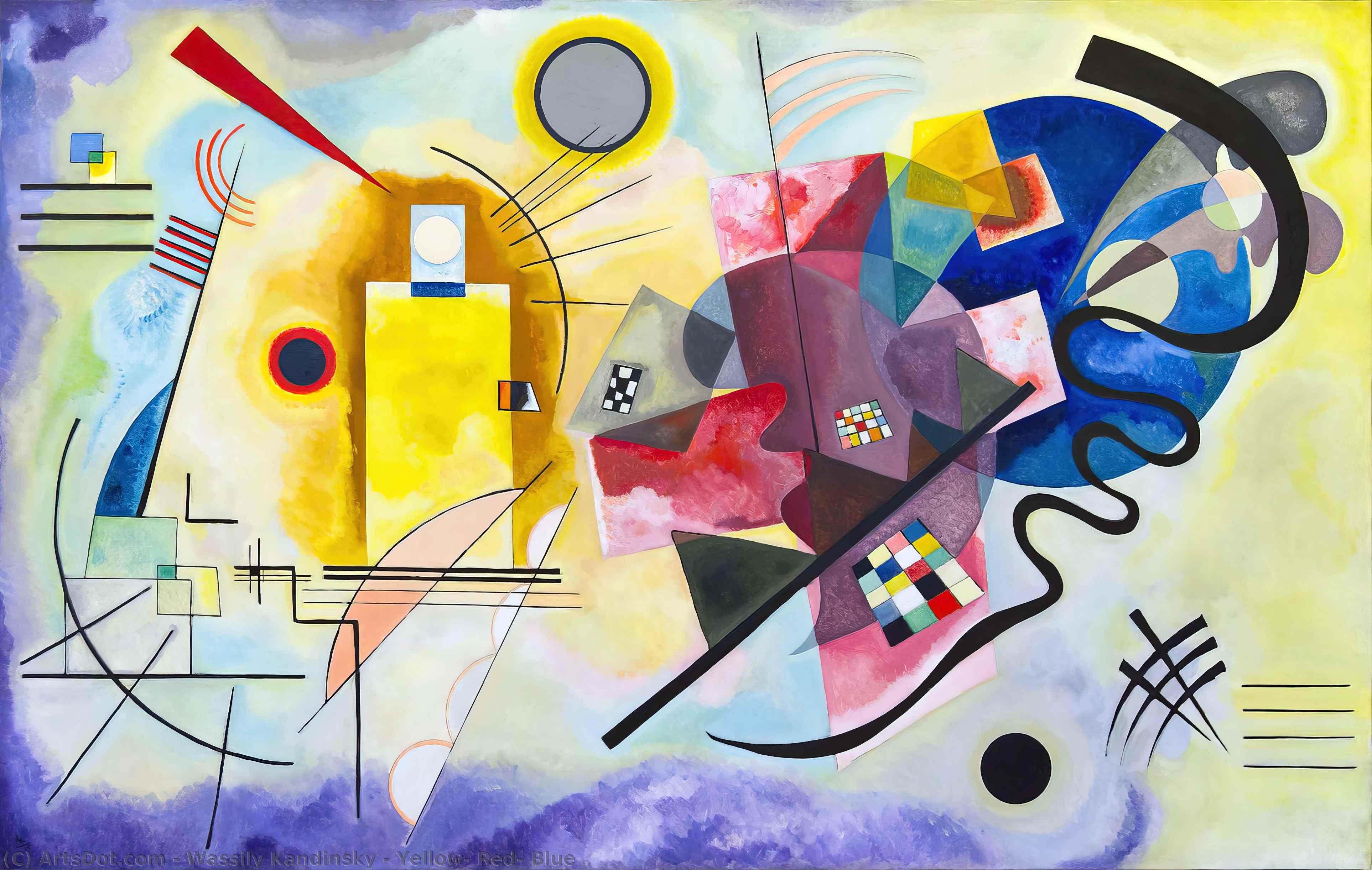 Wikoo.org - موسوعة الفنون الجميلة - اللوحة، العمل الفني Wassily Kandinsky - Yellow, Red, Blue