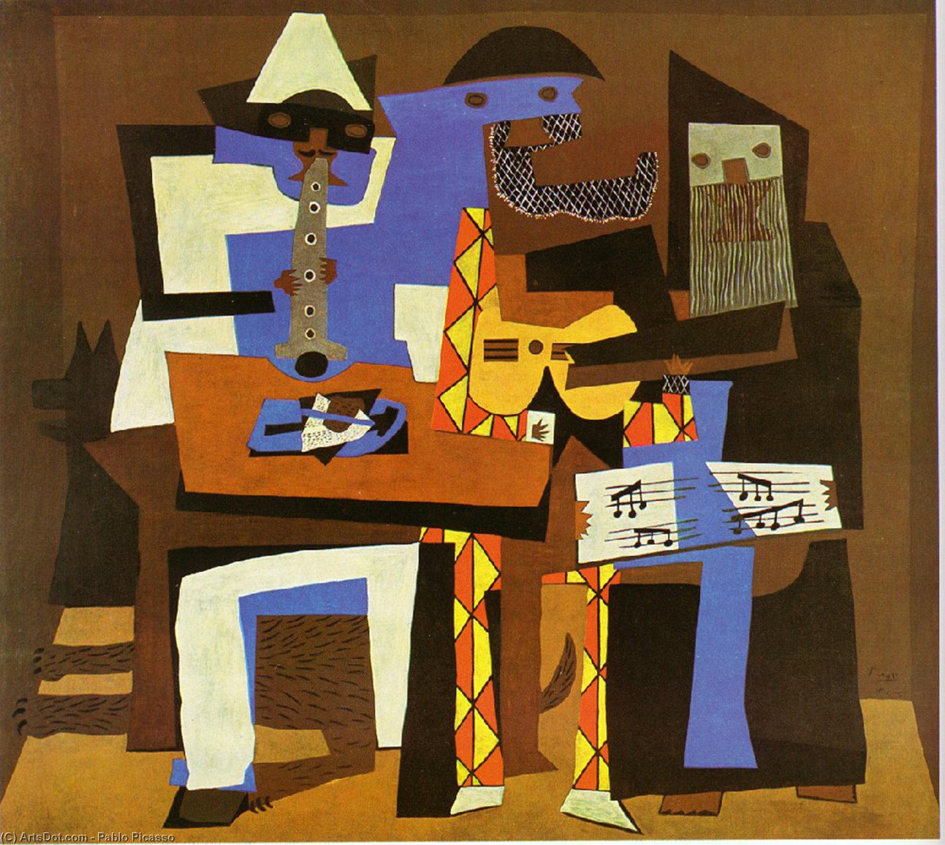 WikiOO.org - Encyclopedia of Fine Arts - Målning, konstverk Pablo Picasso - Three Musicians