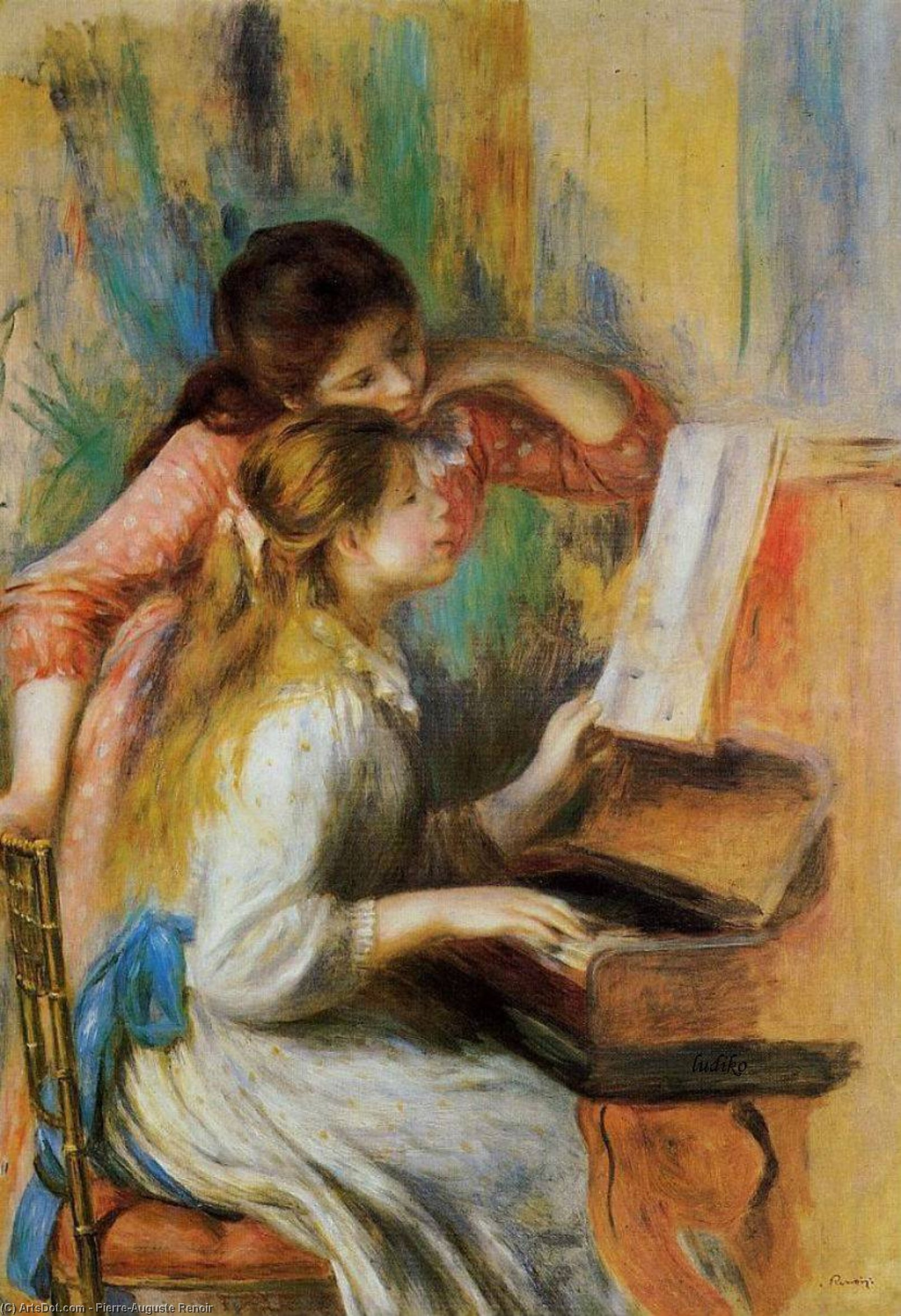 Wikioo.org - The Encyclopedia of Fine Arts - Painting, Artwork by Pierre-Auguste Renoir - Girls at the Piano