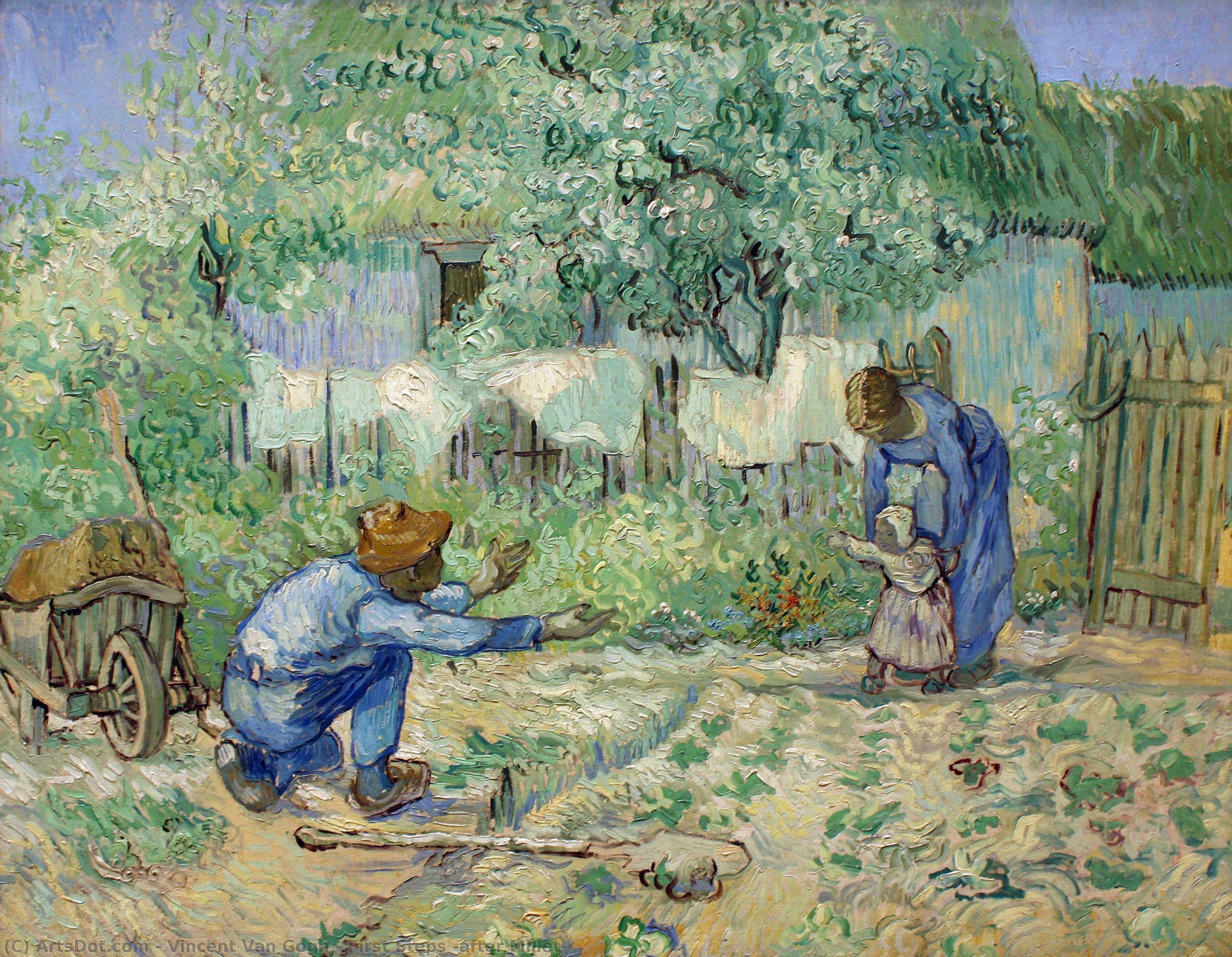 Wikioo.org - The Encyclopedia of Fine Arts - Painting, Artwork by Vincent Van Gogh - First Steps (after Millet)