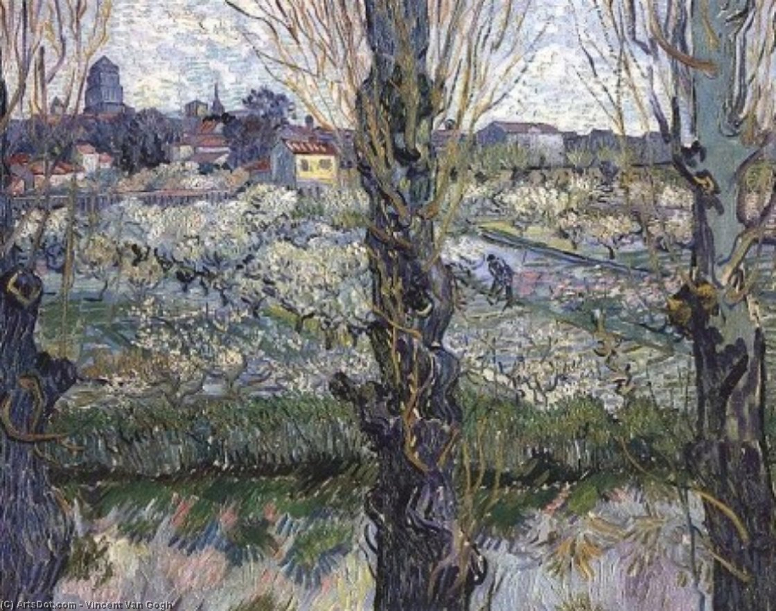 Wikioo.org - The Encyclopedia of Fine Arts - Painting, Artwork by Vincent Van Gogh - Orchard in Blossom with View of Arles