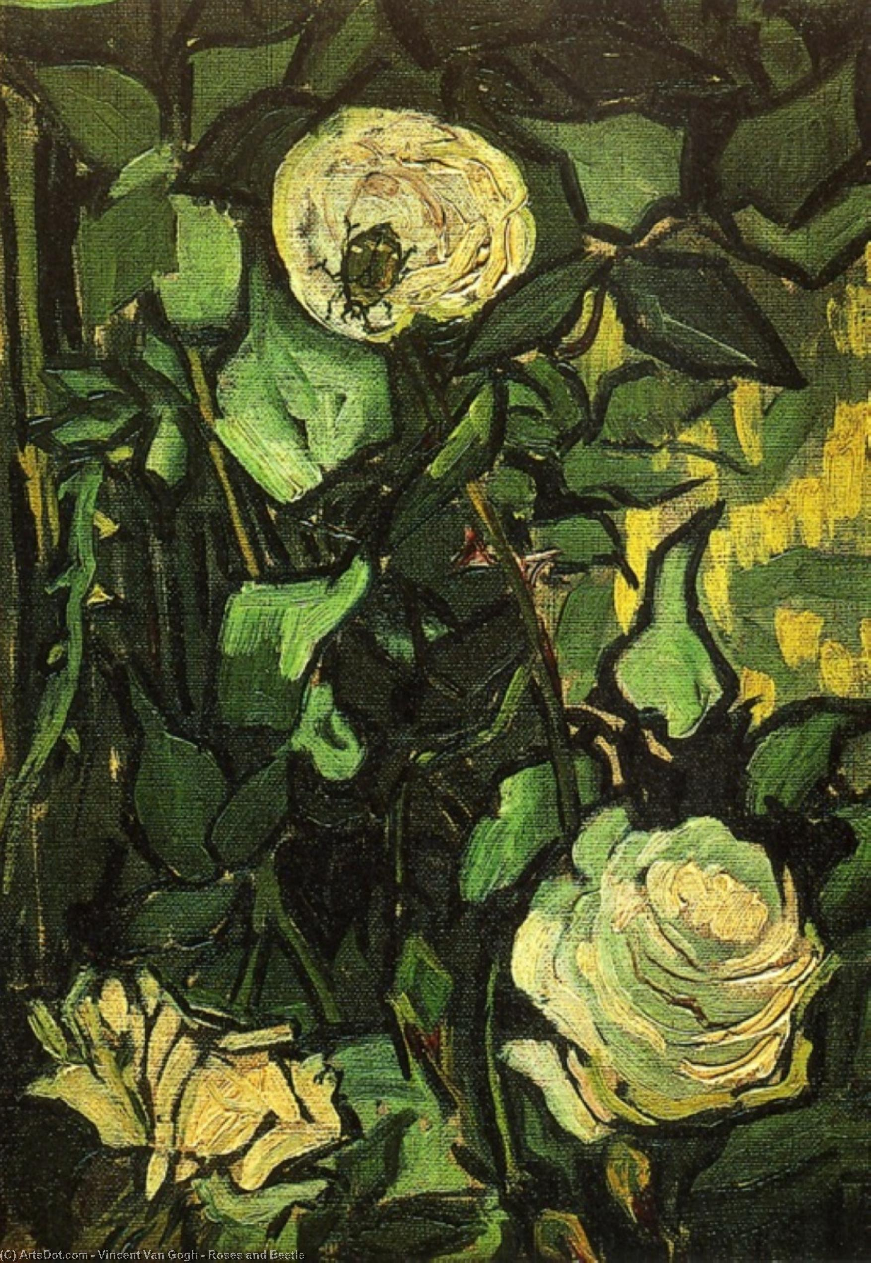 Wikioo.org - The Encyclopedia of Fine Arts - Painting, Artwork by Vincent Van Gogh - Roses and Beetle