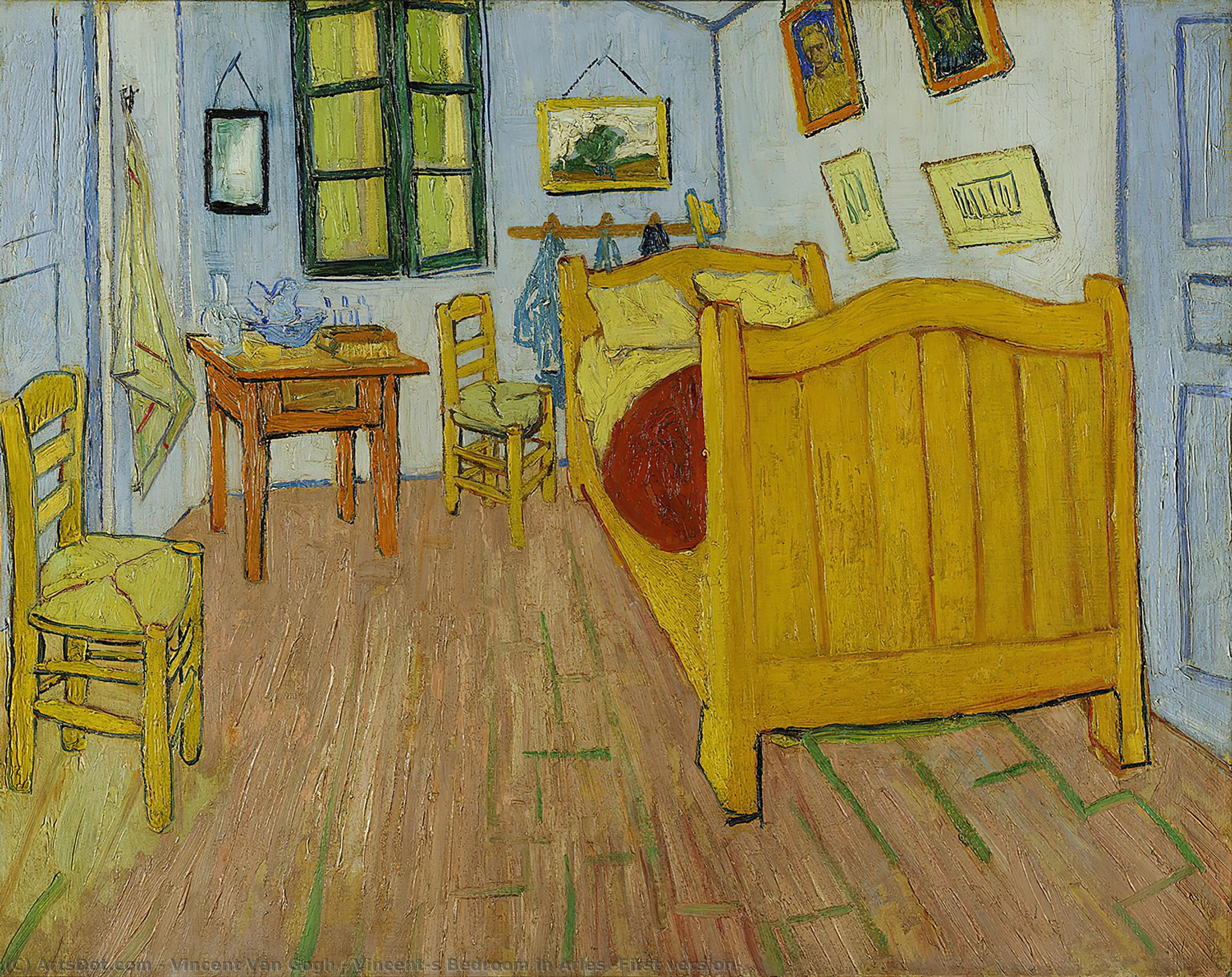 Wikioo.org - The Encyclopedia of Fine Arts - Painting, Artwork by Vincent Van Gogh - Vincent's Bedroom in Arles (First version)