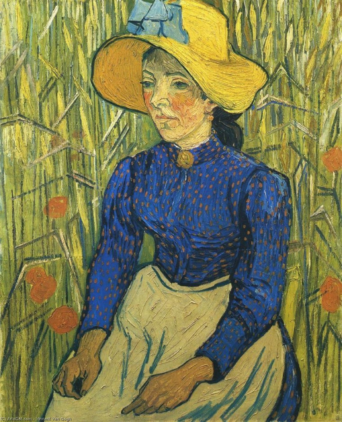 Wikioo.org - The Encyclopedia of Fine Arts - Painting, Artwork by Vincent Van Gogh - Young Peasant Woman with Straw Hat Sitting in the Wheat