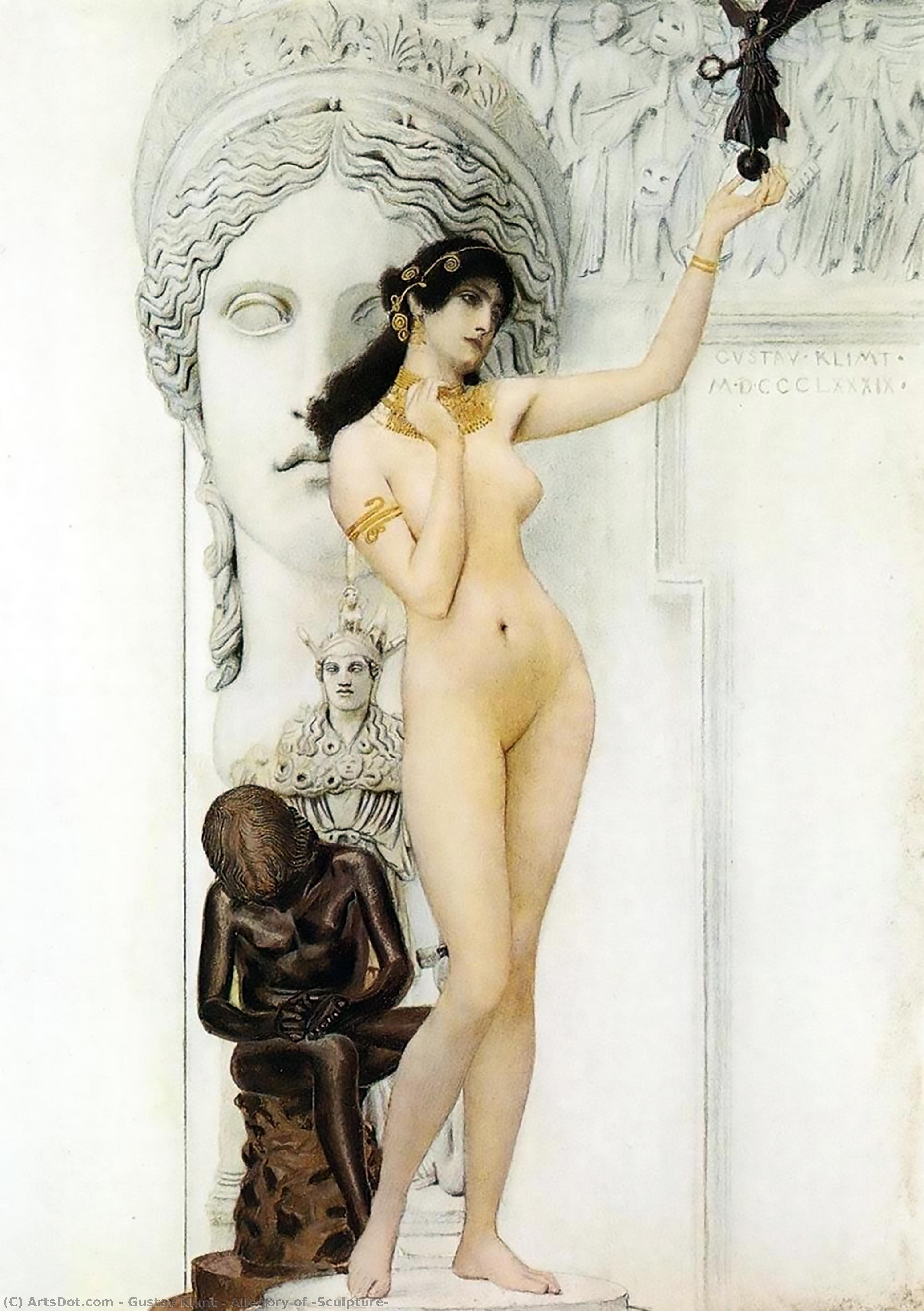 Wikioo.org - The Encyclopedia of Fine Arts - Painting, Artwork by Gustav Klimt - Allegory of 'Sculpture'