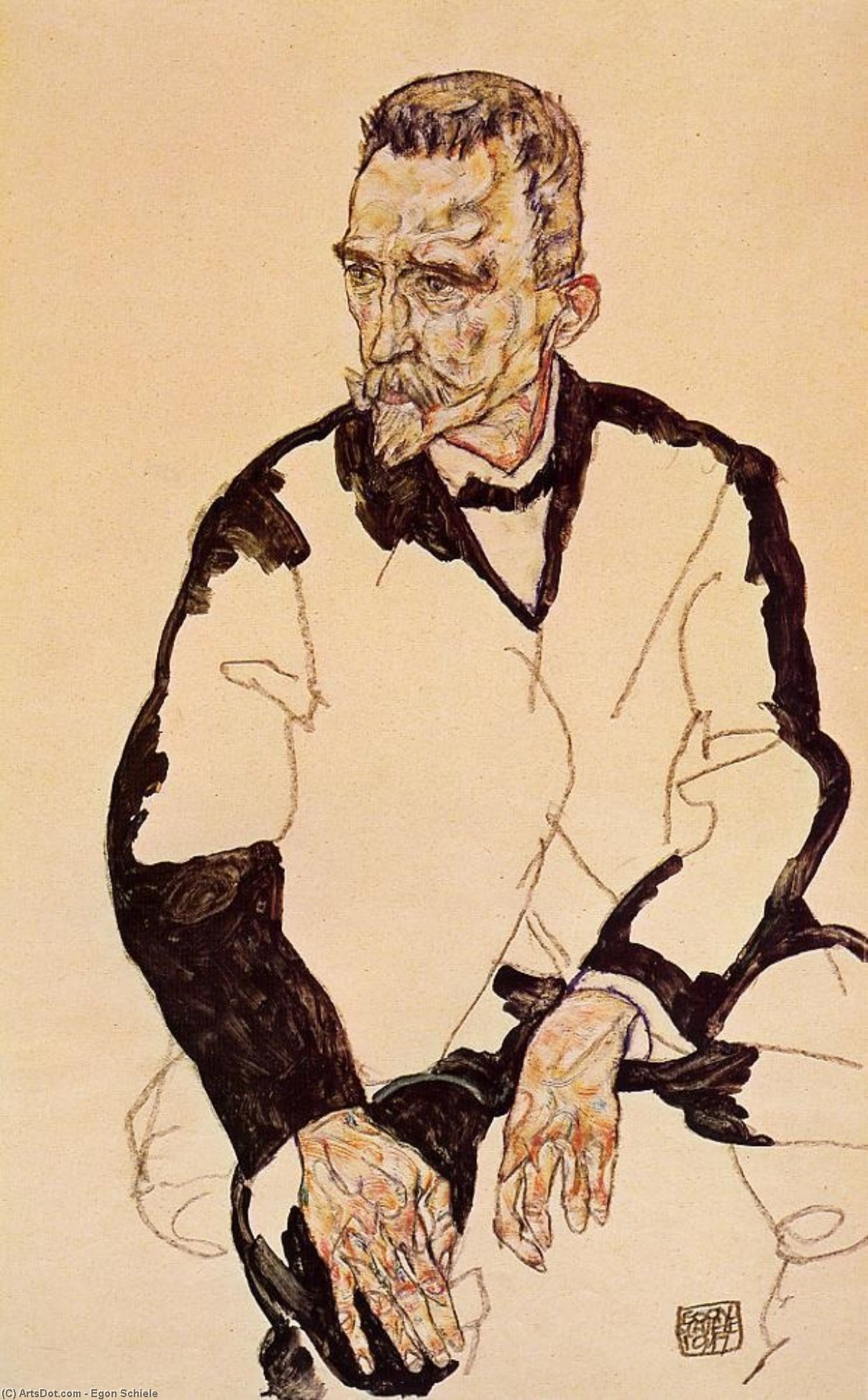 Wikioo.org - The Encyclopedia of Fine Arts - Painting, Artwork by Egon Schiele - Portrait of Heinrich Benesch