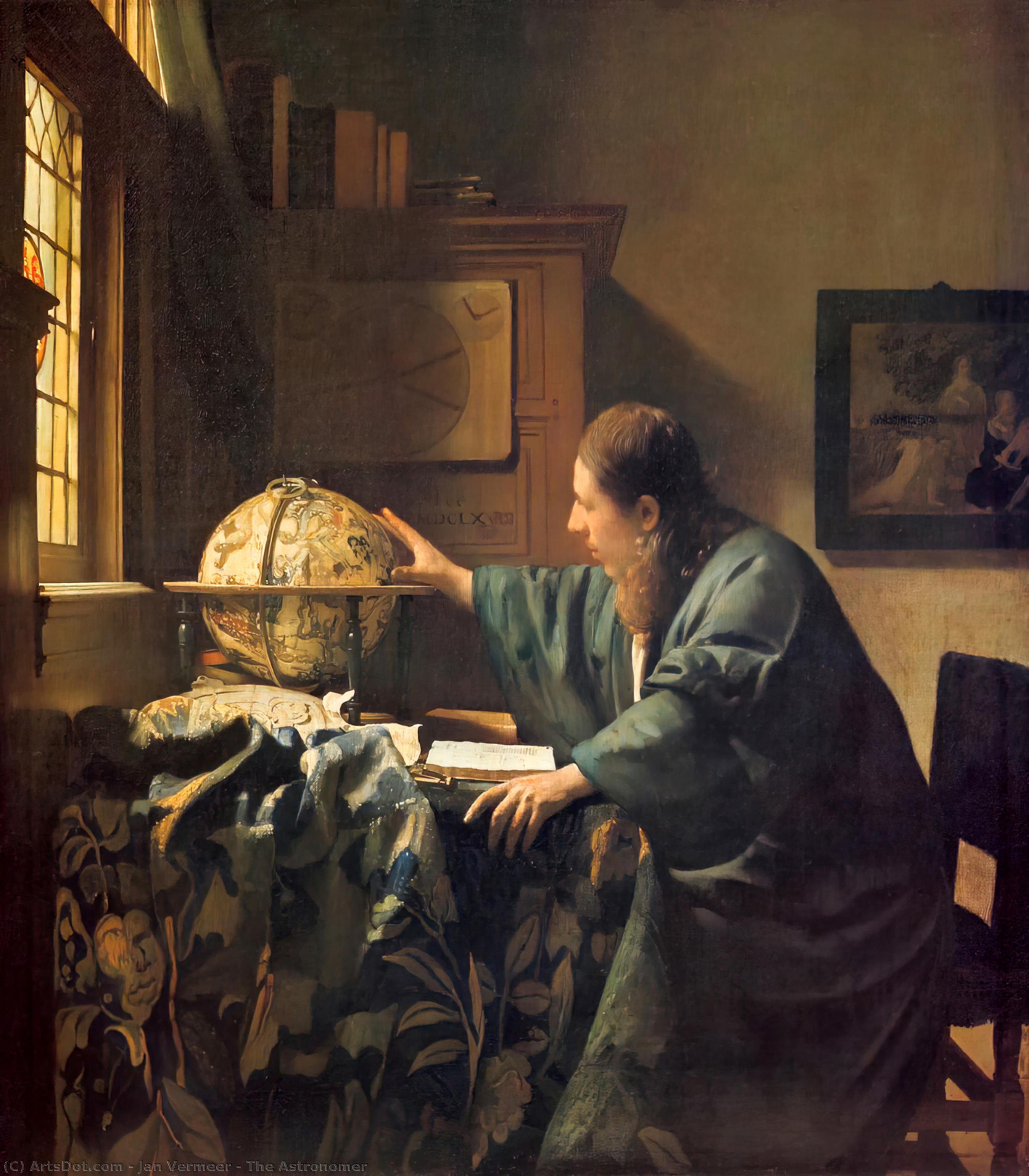 WikiOO.org - Encyclopedia of Fine Arts - Schilderen, Artwork Jan Vermeer - The Astronomer
