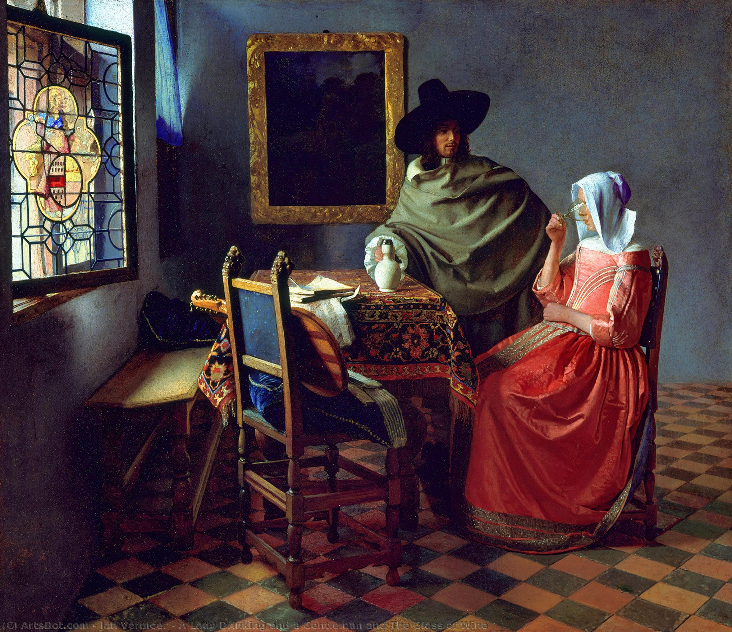 Wikioo.org - The Encyclopedia of Fine Arts - Painting, Artwork by Jan Vermeer - A Lady Drinking and a Gentleman and The Glass of Wine