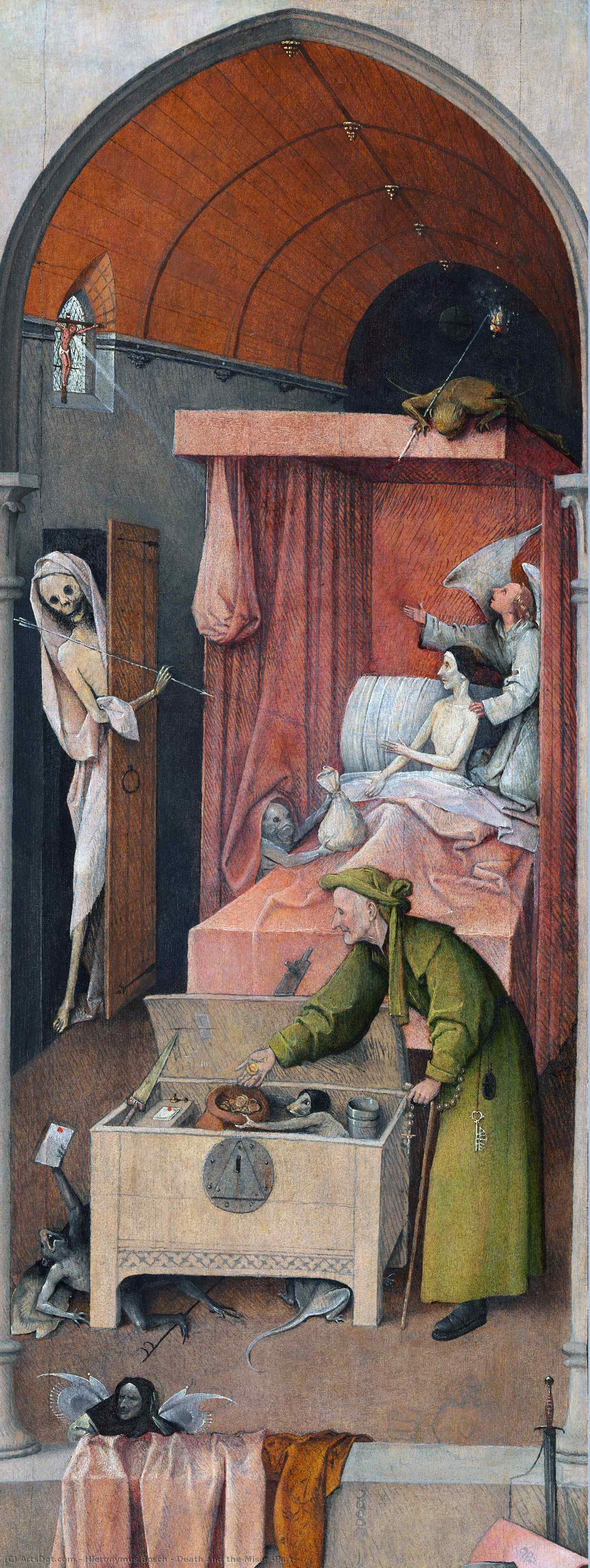Wikioo.org - The Encyclopedia of Fine Arts - Painting, Artwork by Hieronymus Bosch - Death and the Miser (Part)