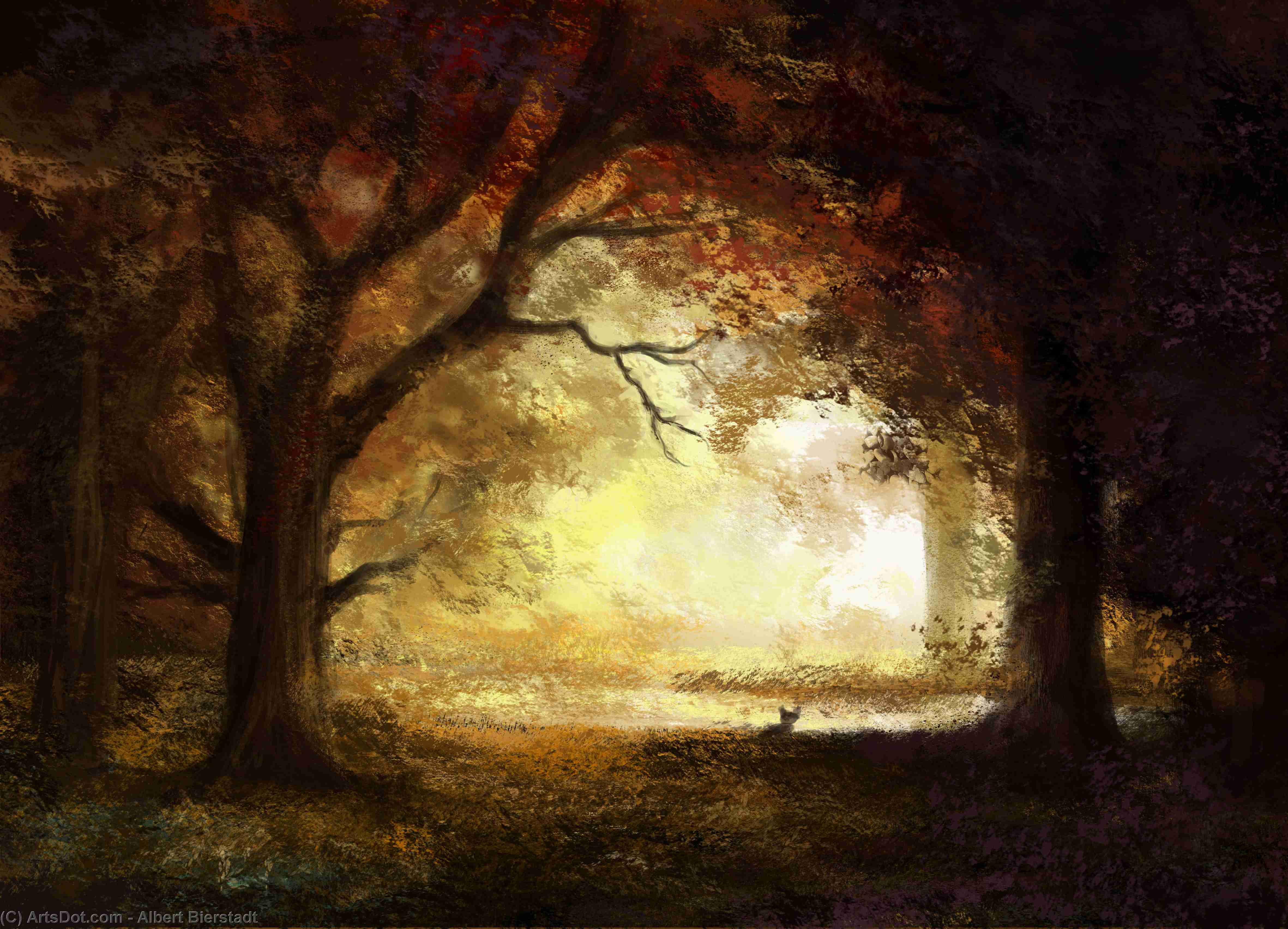 Wikioo.org - The Encyclopedia of Fine Arts - Painting, Artwork by Albert Bierstadt - Forest Sunrise